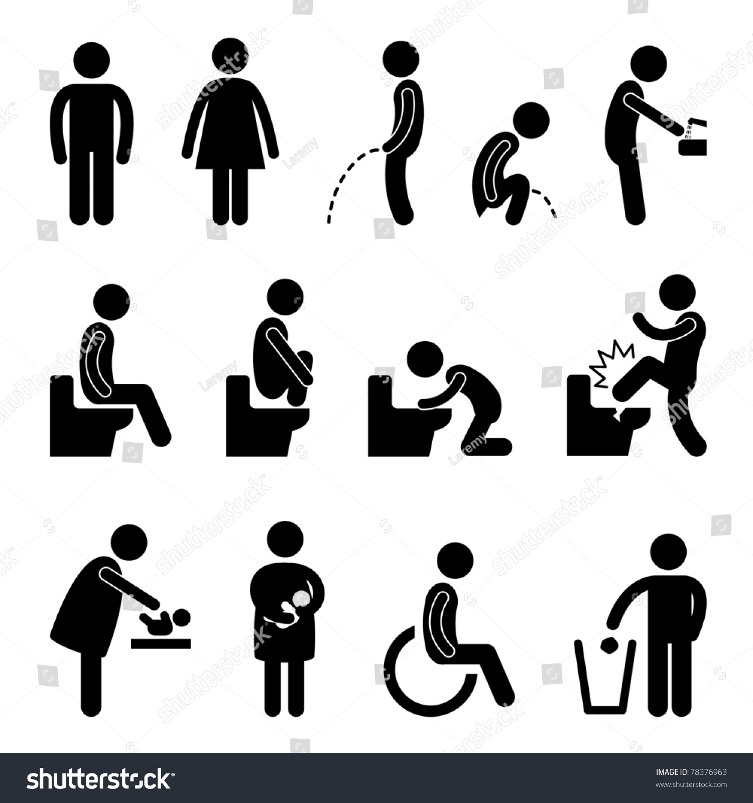 Bathroom Sign Male Vector toilet bathroom male female pregnant handicap stock vector