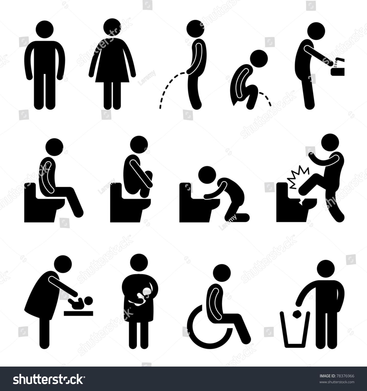 toilet bathroom male female pregnant handicap public sign symbol icon
