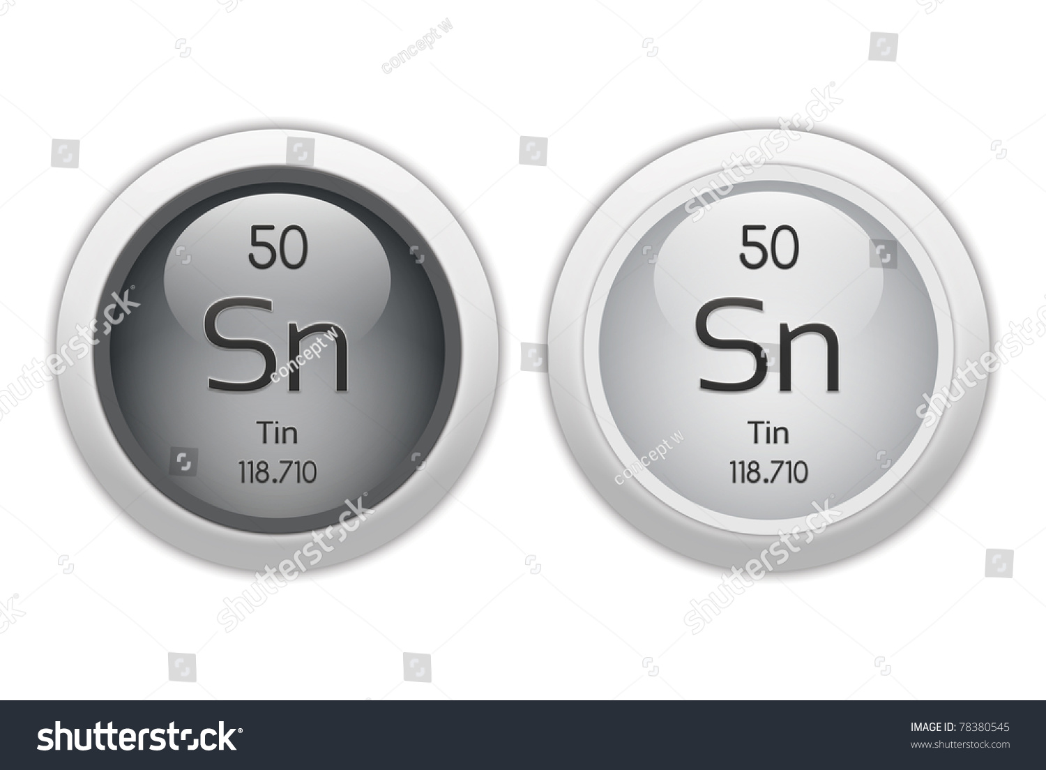 Tin Two Web Buttons Chemical Element Stock Illustration 78380545