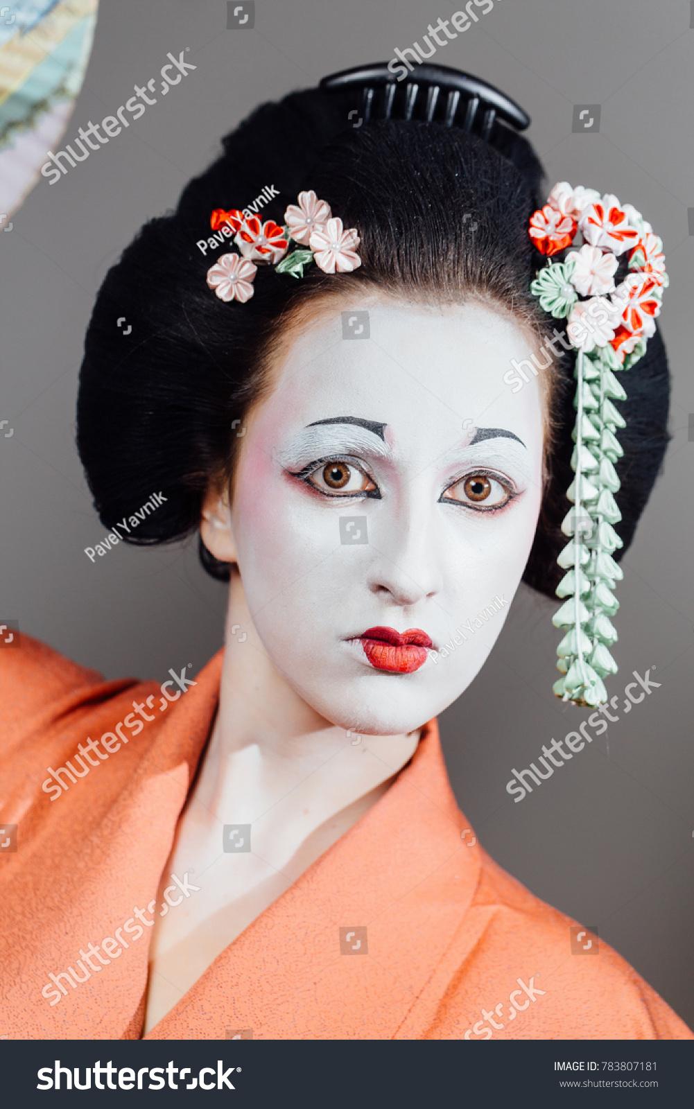 Woman Geisha Makeup Traditional Japanese Kimono Stock Photo 100