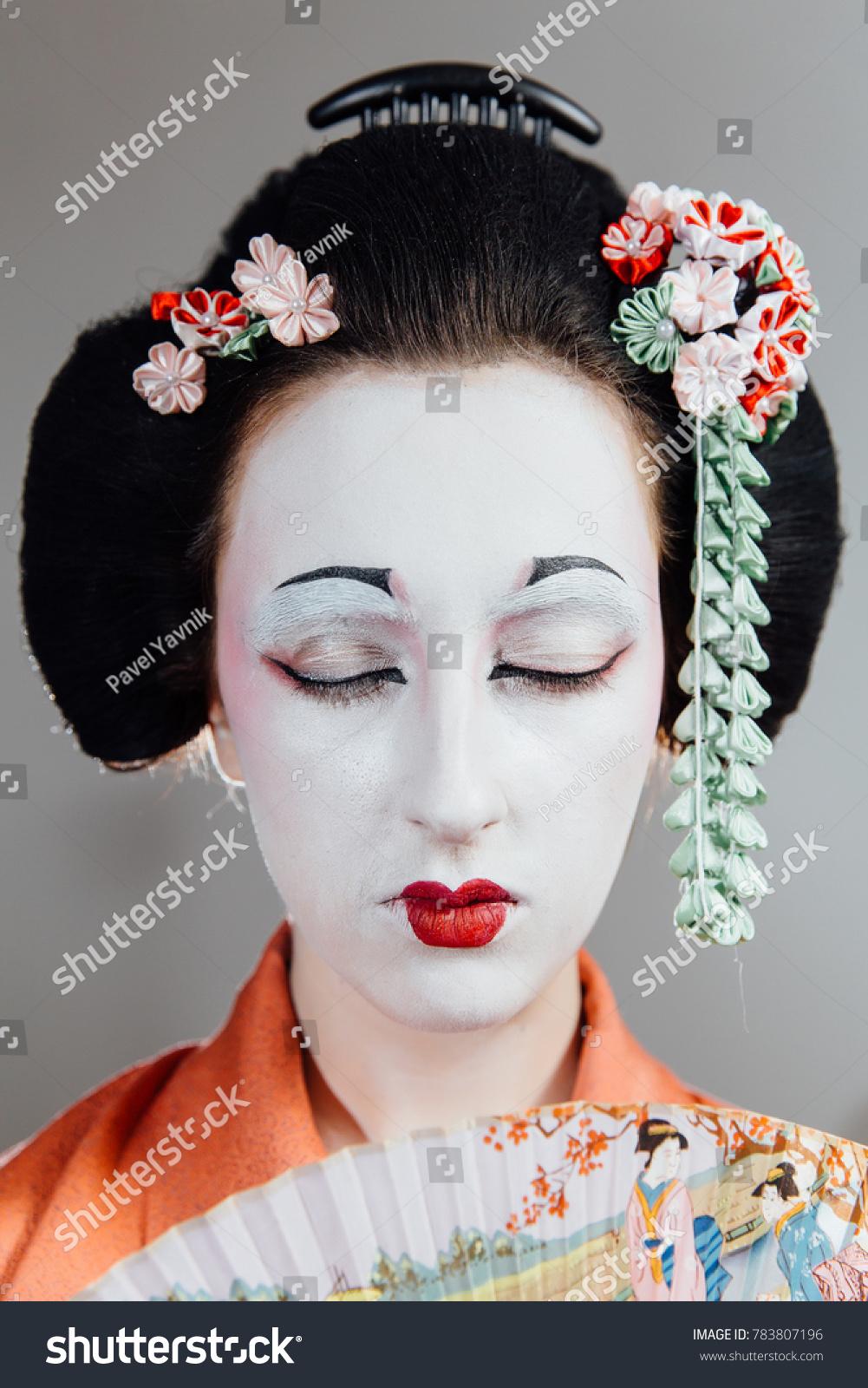 Woman Geisha Makeup Traditional Japanese Kimono Stock Photo Royalty
