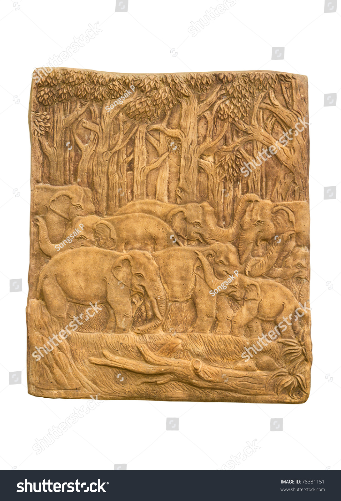 Elephant in forest low relief sculpture stock photo