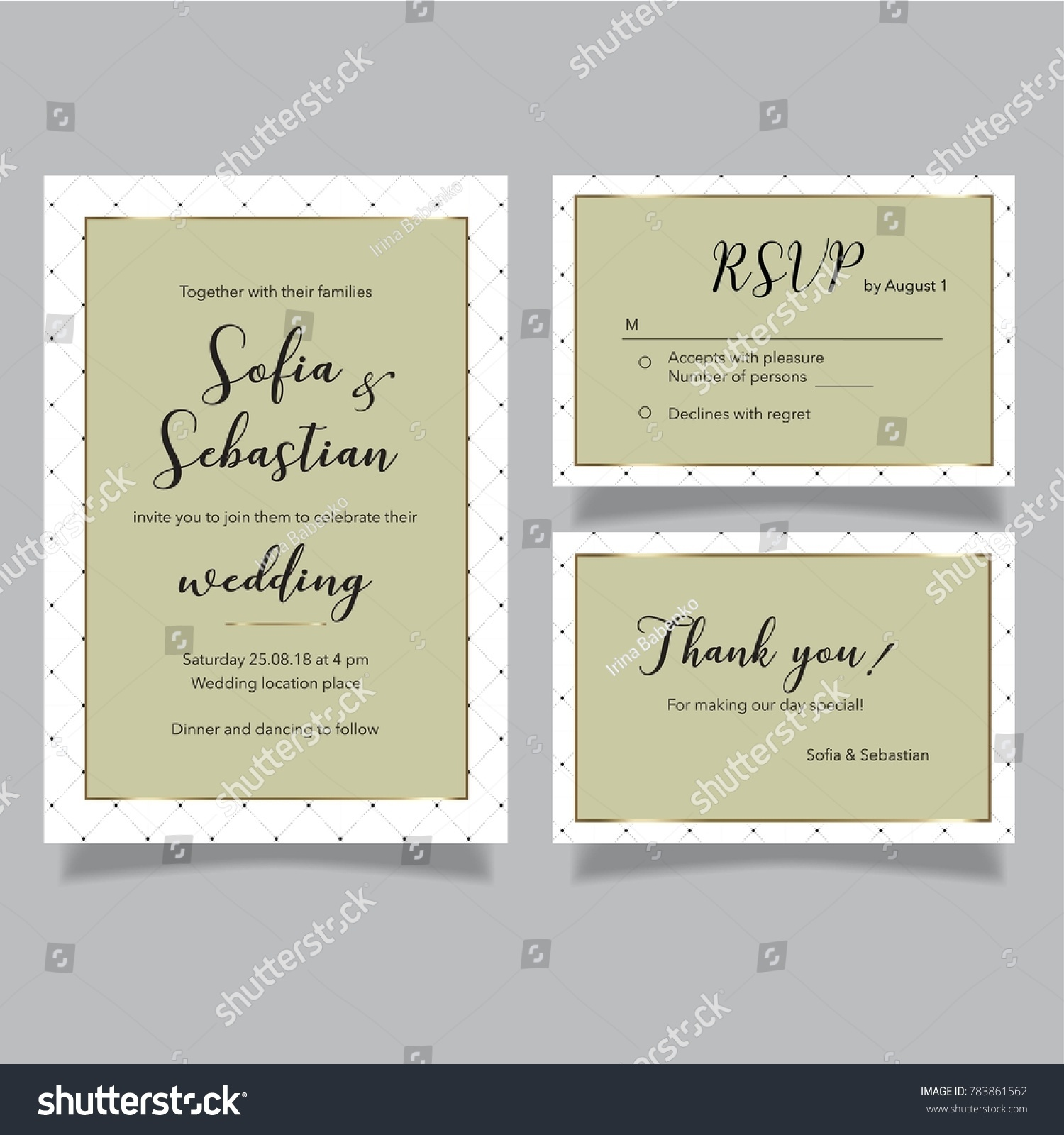 Wedding Vector Olive Set Invitation Card Stock Vector 783861562 ...