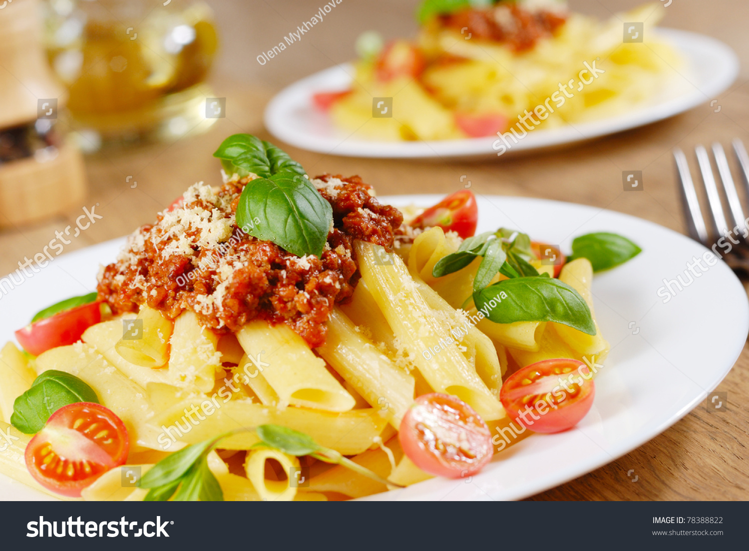 Penne Pasta With A Bolognese Tomato Beef Sauce On The Oak ...