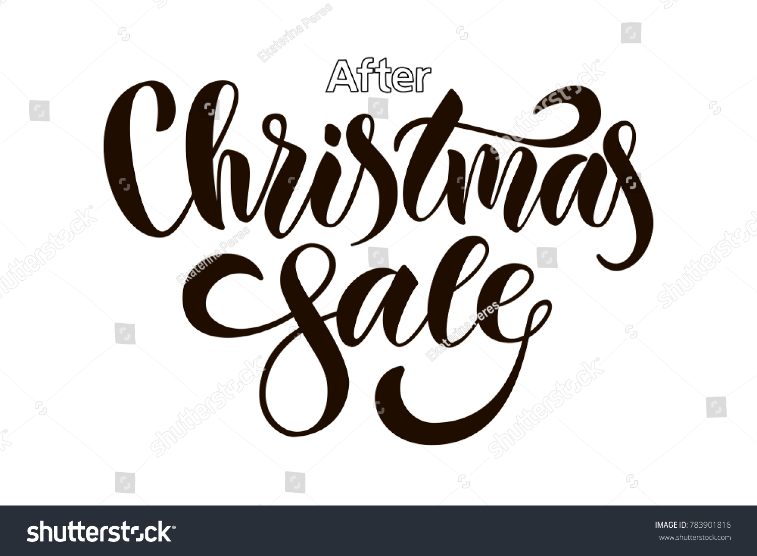 After Market Stock Quotes Hand Drawn After Christmas Sale Typography Stock Vector 783901816