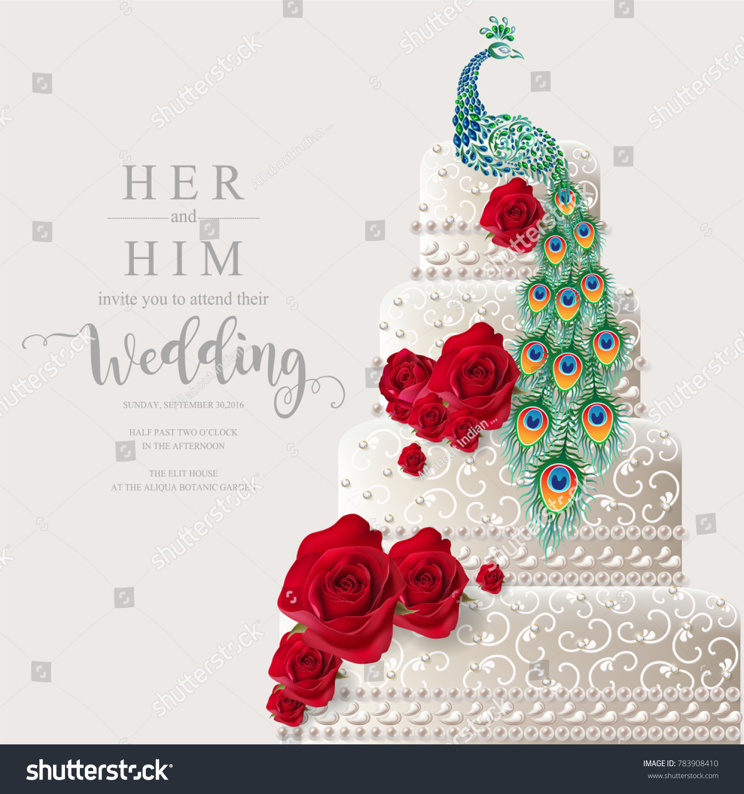 Indian Wedding Invitation Card Templates Realistic Stock Vector ...