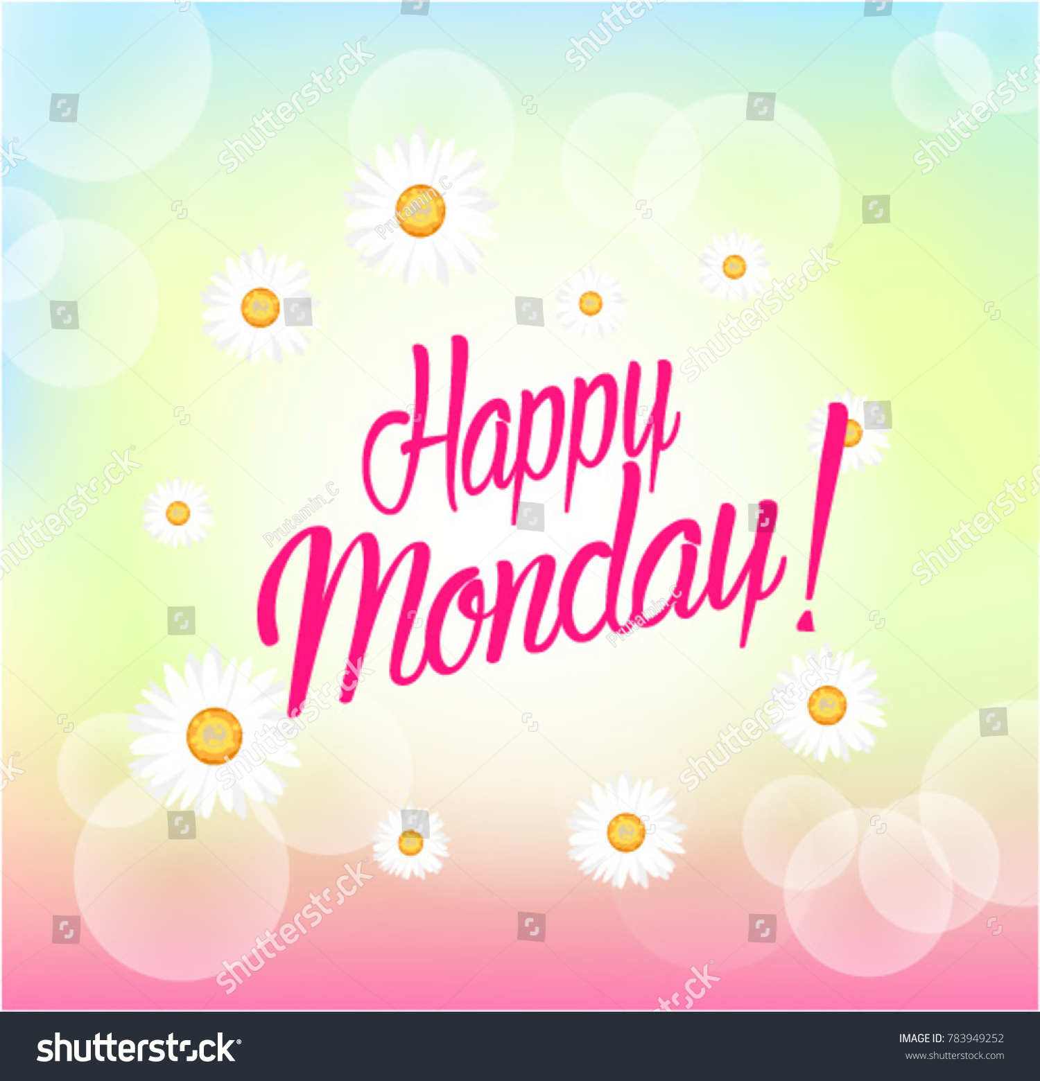 Happy Monday Beautiful Greeting Card Bunch Stock Vector Royalty