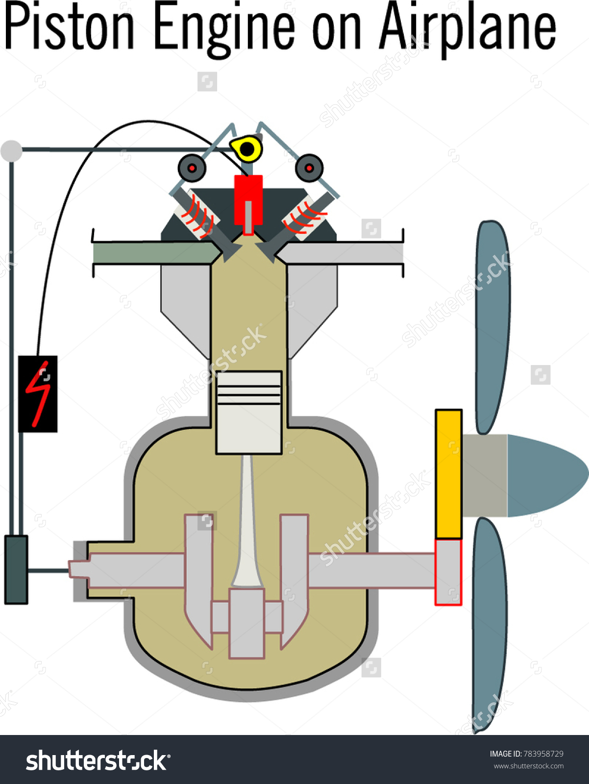 Piston engine for airplane, cartoon engine