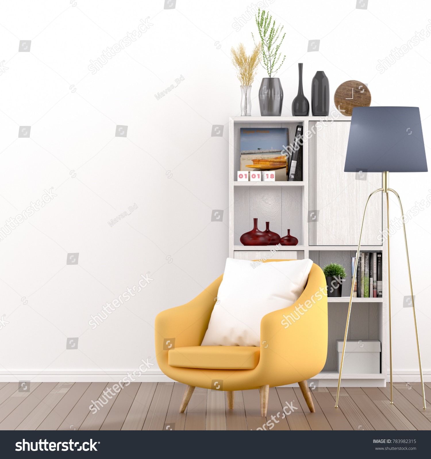 Yellow Chairs Home Interiors Living Room Stock Illustration ...