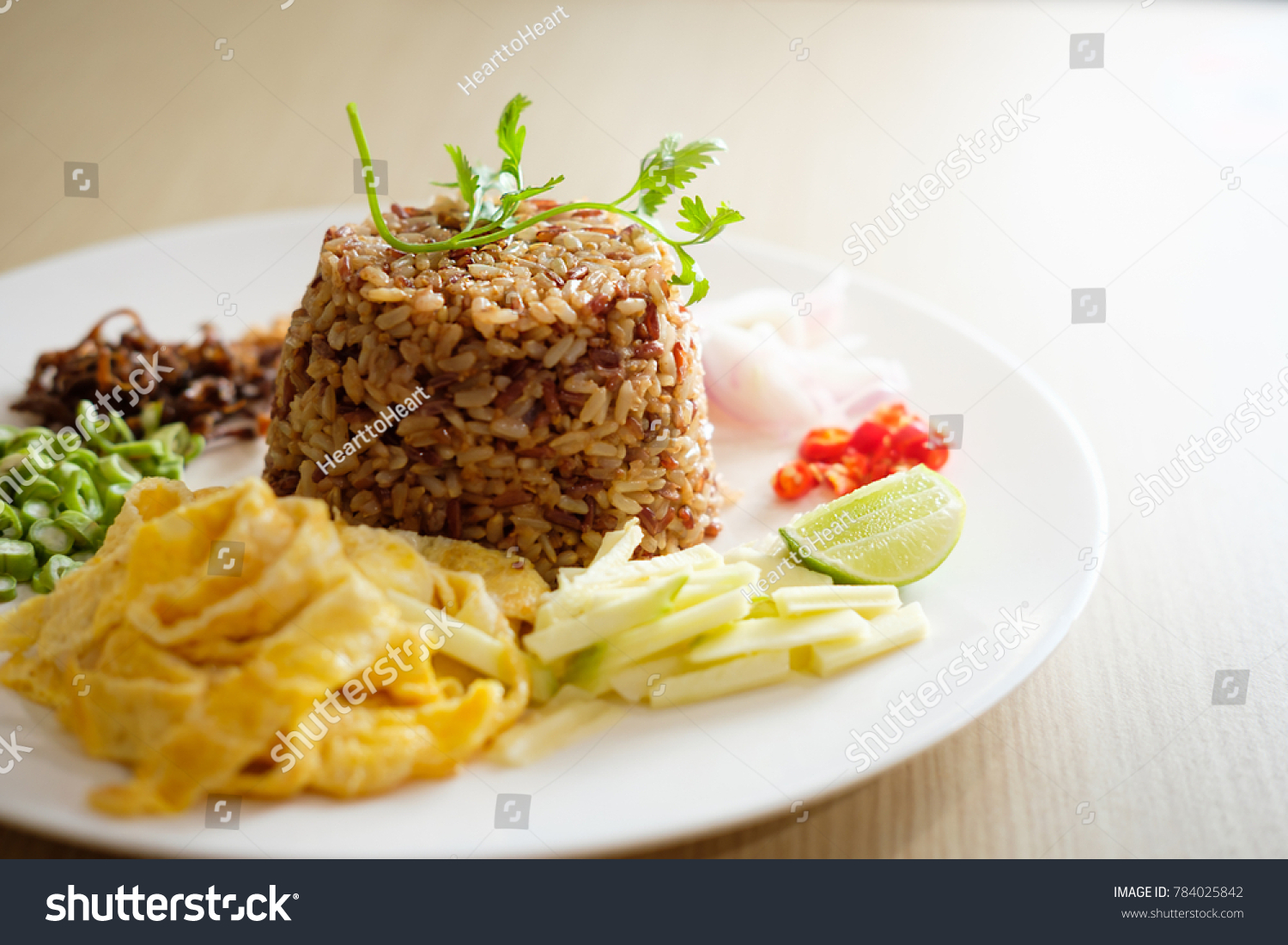 Shrimp Paste Fried Rice This Healthy Food And Drink Stock