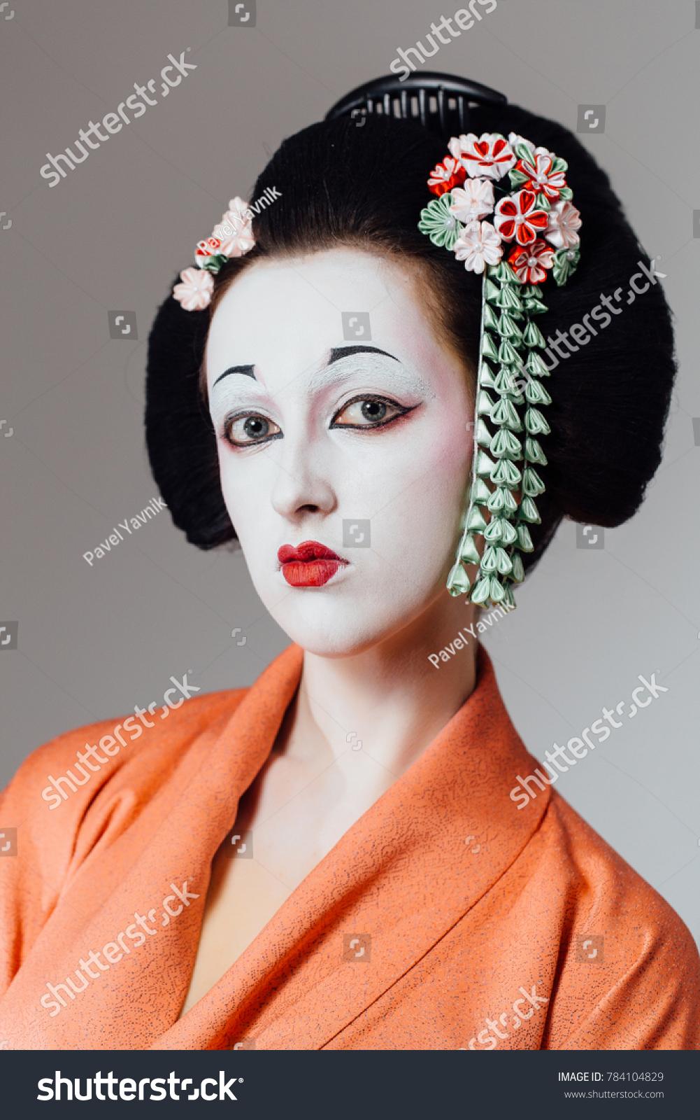 Woman Geisha Makeup Traditional Japanese Kimono Stock Photo Safe To