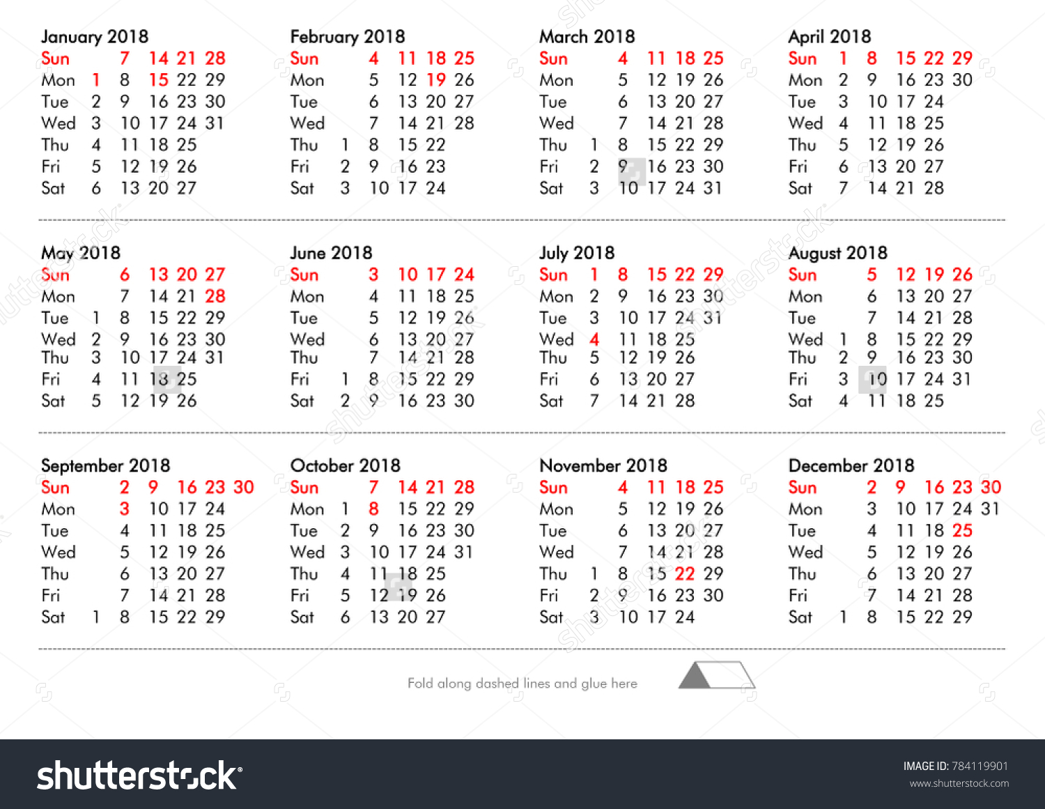 DIY Fold And Glue American Calendar Of Year 2018 With Public Holidays Bank For