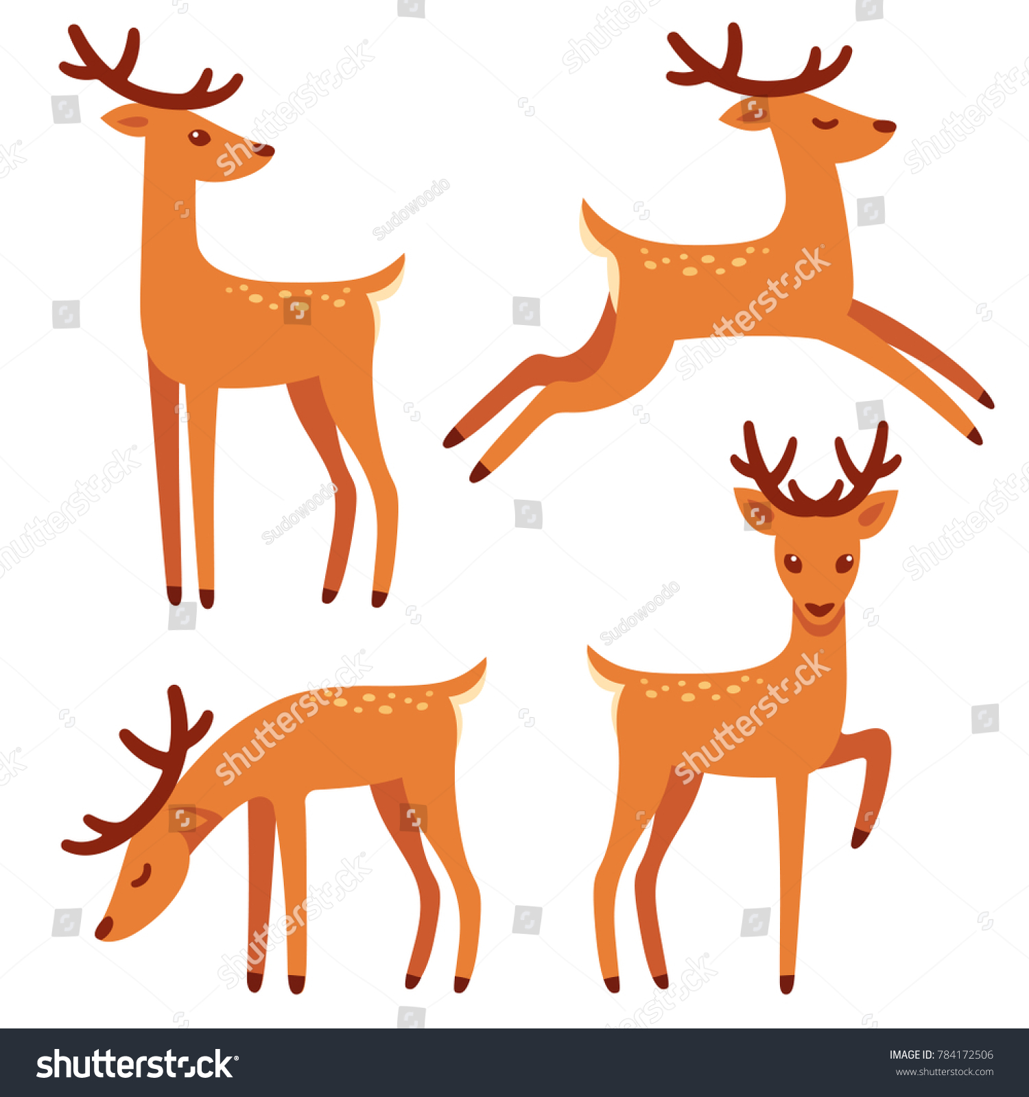 Cute Deer With Antlers Vector Illustration Set Standing Jumping