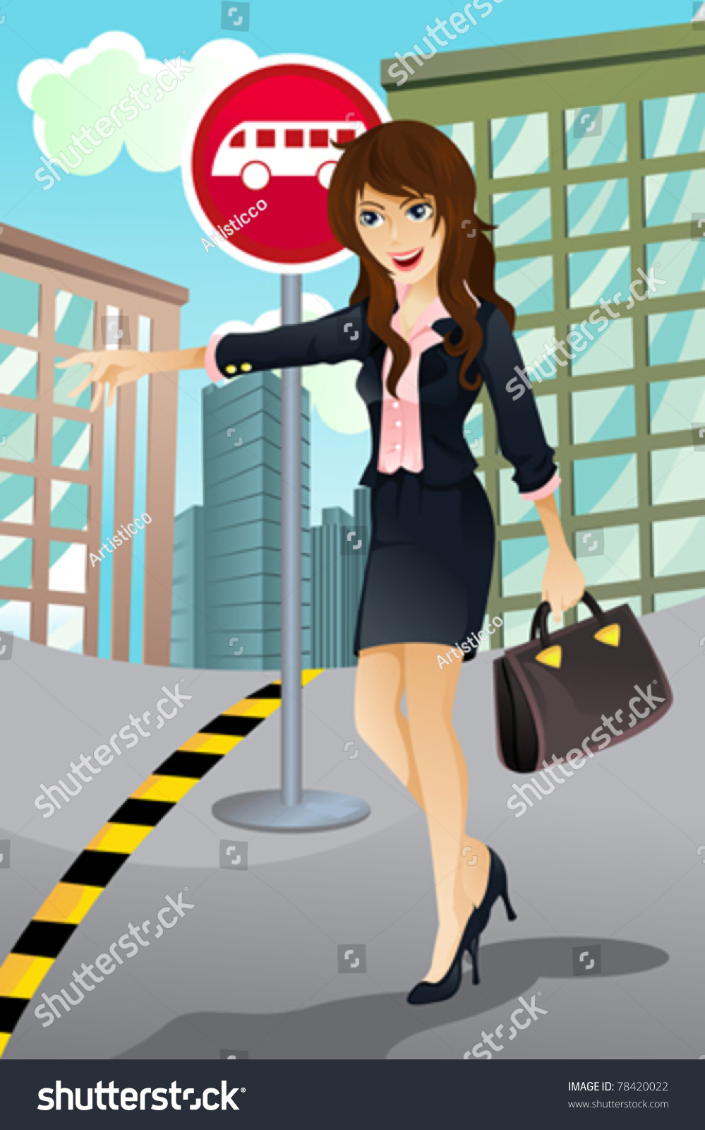 Go To Www Bing Com1 Microsoft Way Redmond: A Vector Illustration Of A Beautiful Woman Waiting For A