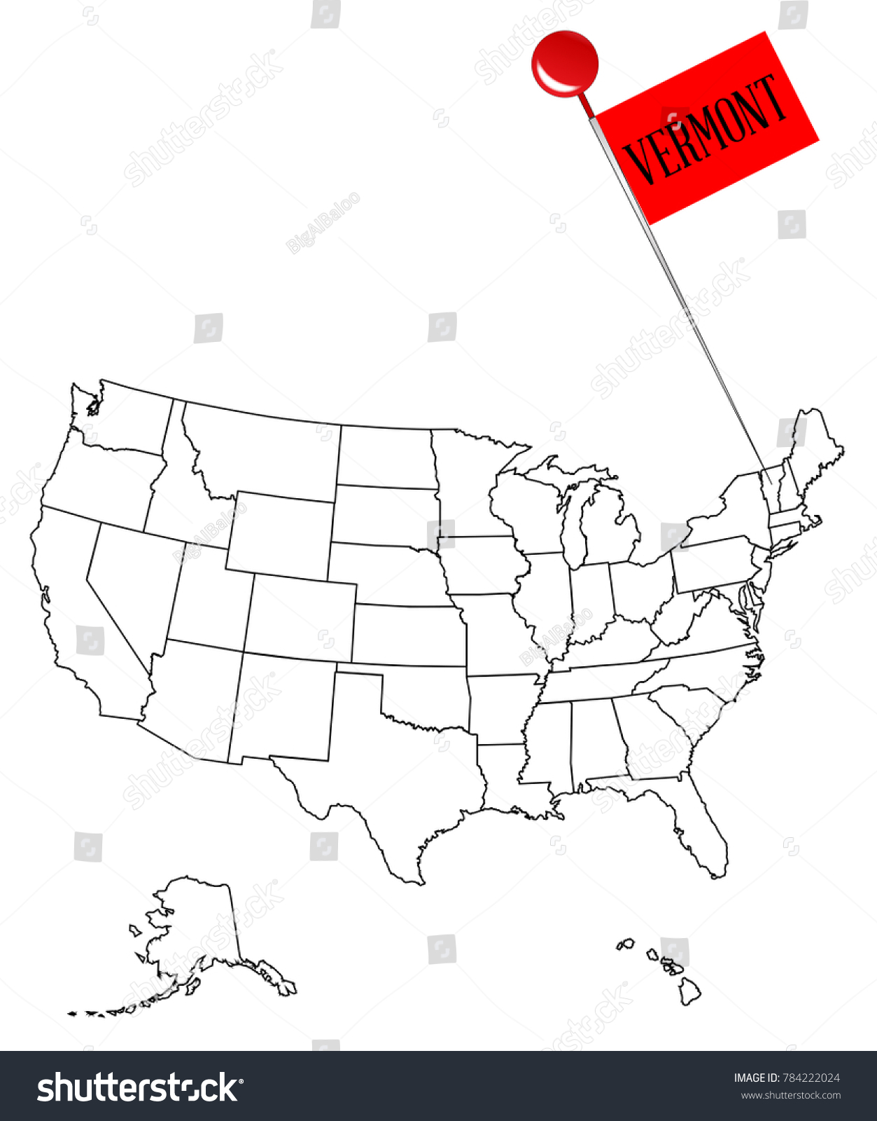 an outline map of usa with a knob pin in the state of vermont