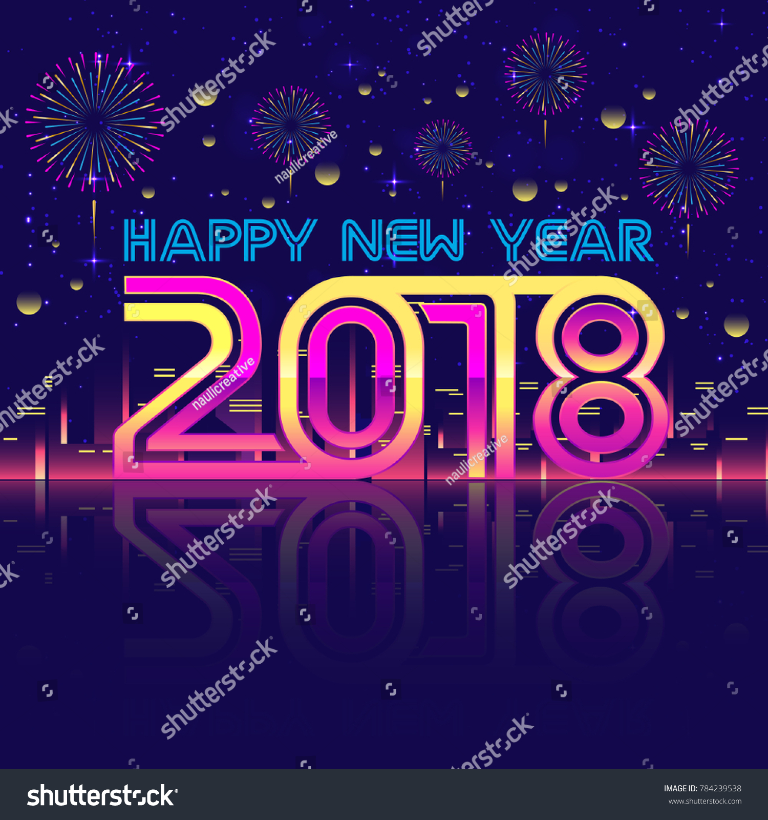 modern happy new year 2018 celebration card suitable for invitation web banner social
