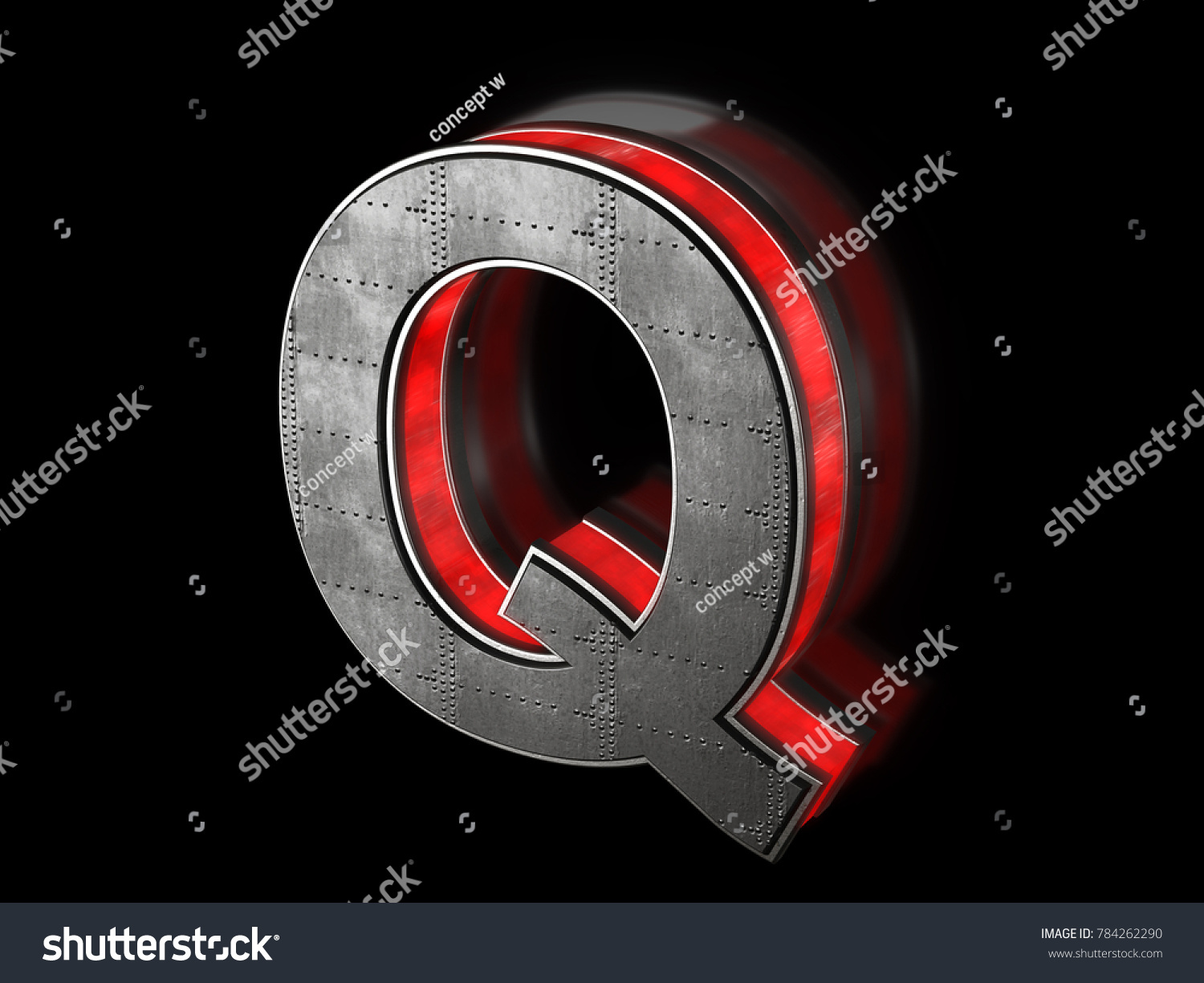 Futuristic letter Q - black metallic extruded letter with red light outline  glowing in the dark