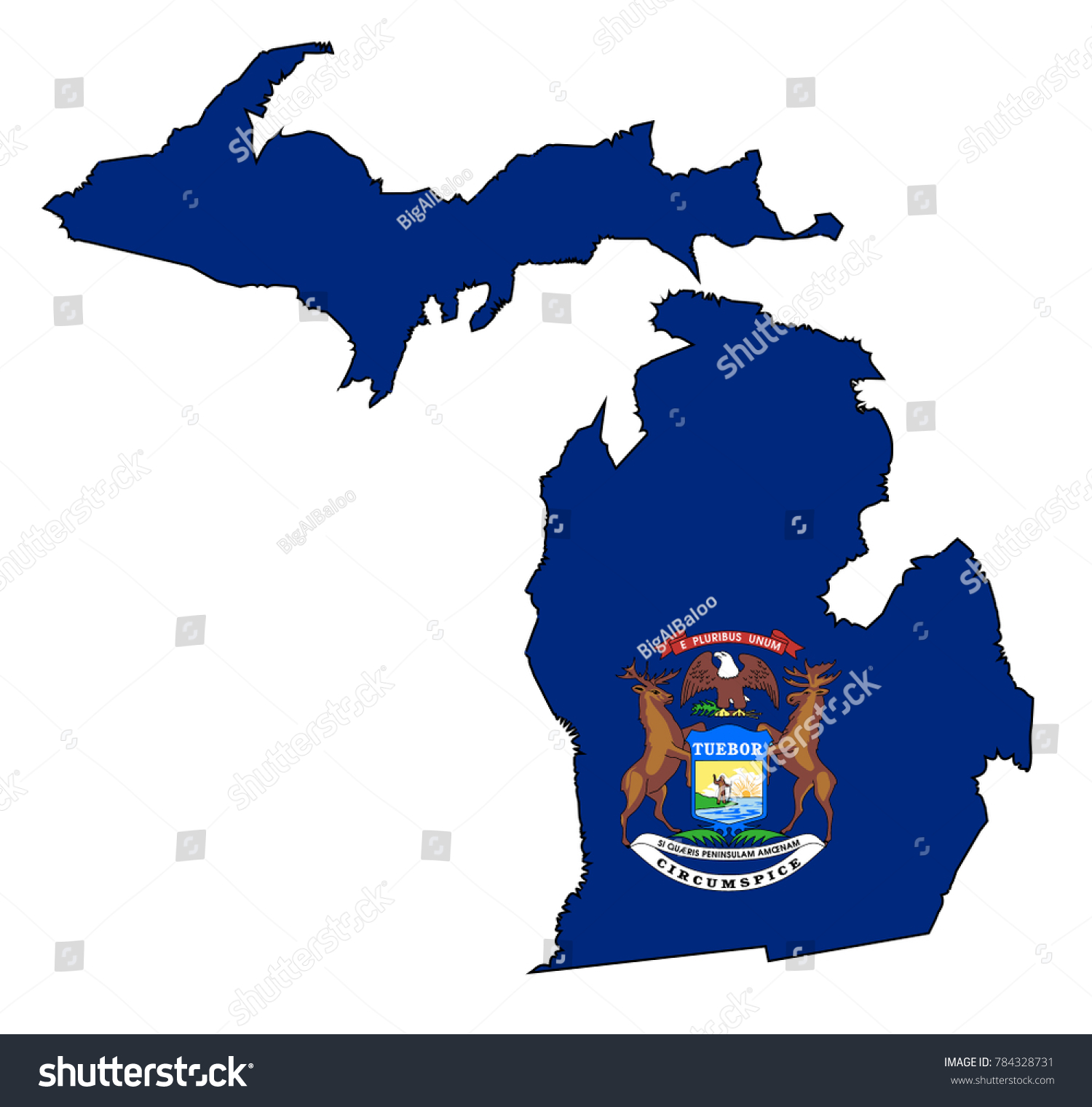 Outline Map State Michigan Map Inset Stock Photo (Photo, Vector ...