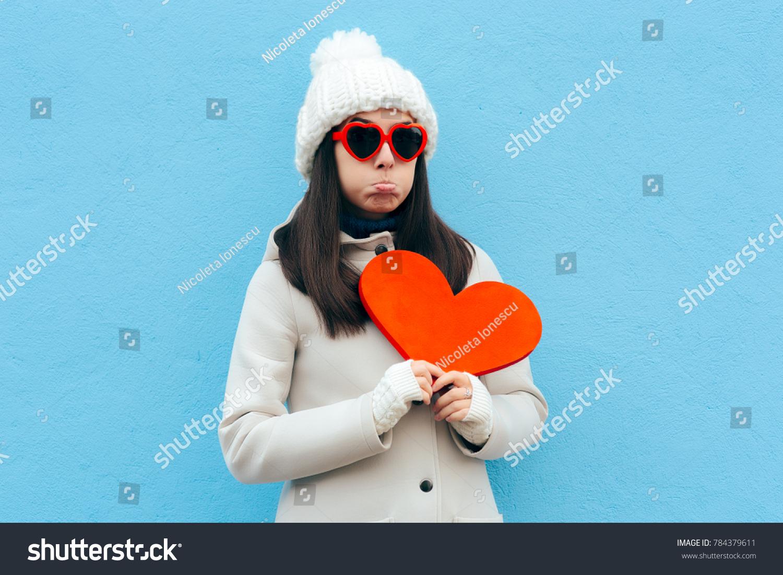 Heartbroken Sad Upset Girl Holding Heart Stock Photo (Edit Now