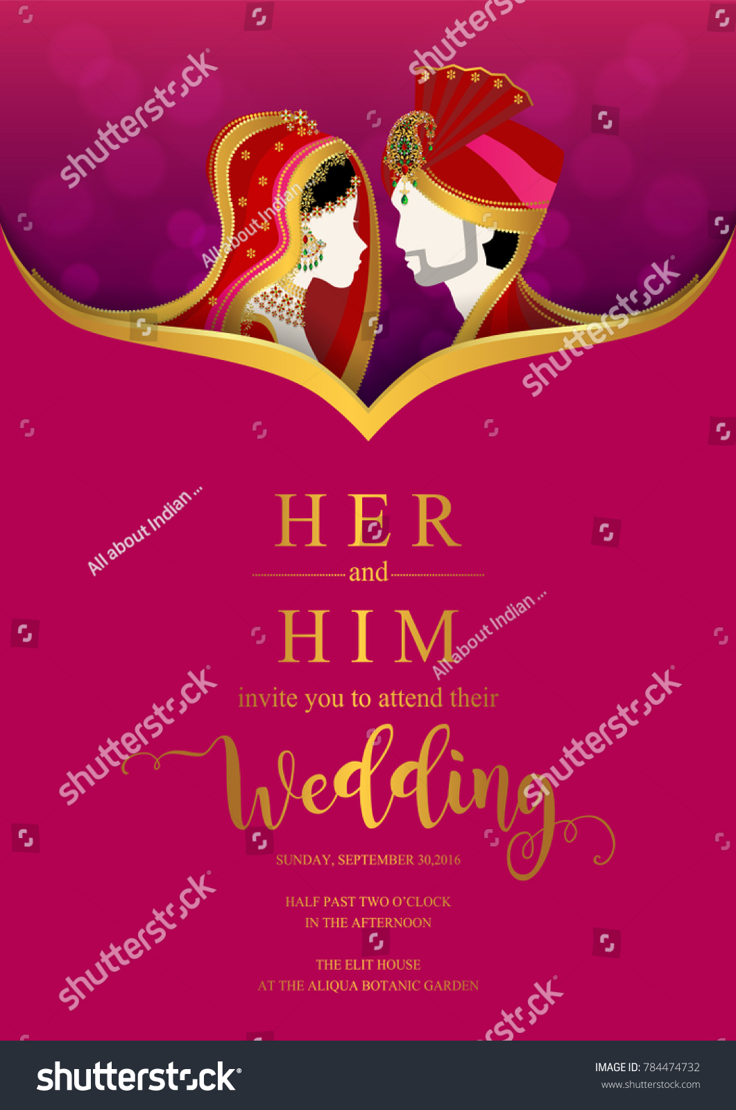 Indian Wedding Invitation Card Templates Gold Stock Vector 784474732 ...