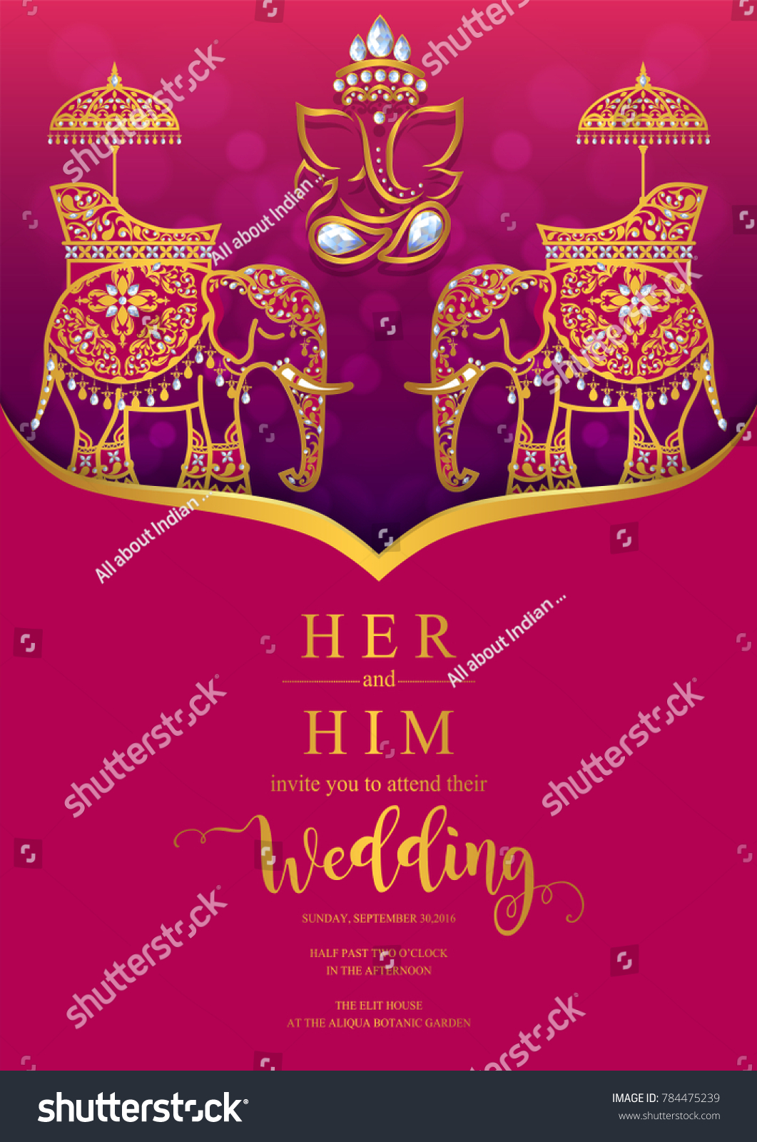 Indian Wedding Invitation Card Templates Gold Stock Vector (Royalty Free)  784475239