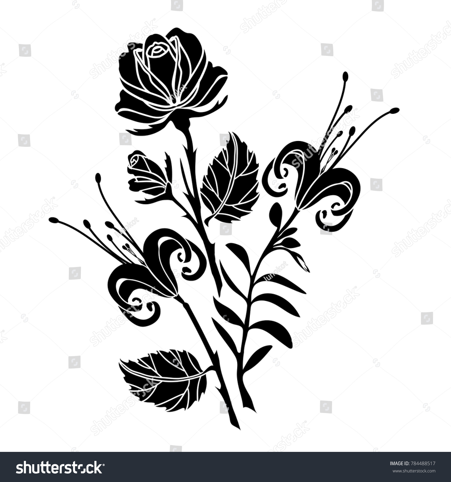 Lily rose tattoo black silhouette flowers stock vector royalty free lily and rose tattoo black silhouette of flowers and leaves on a white background izmirmasajfo