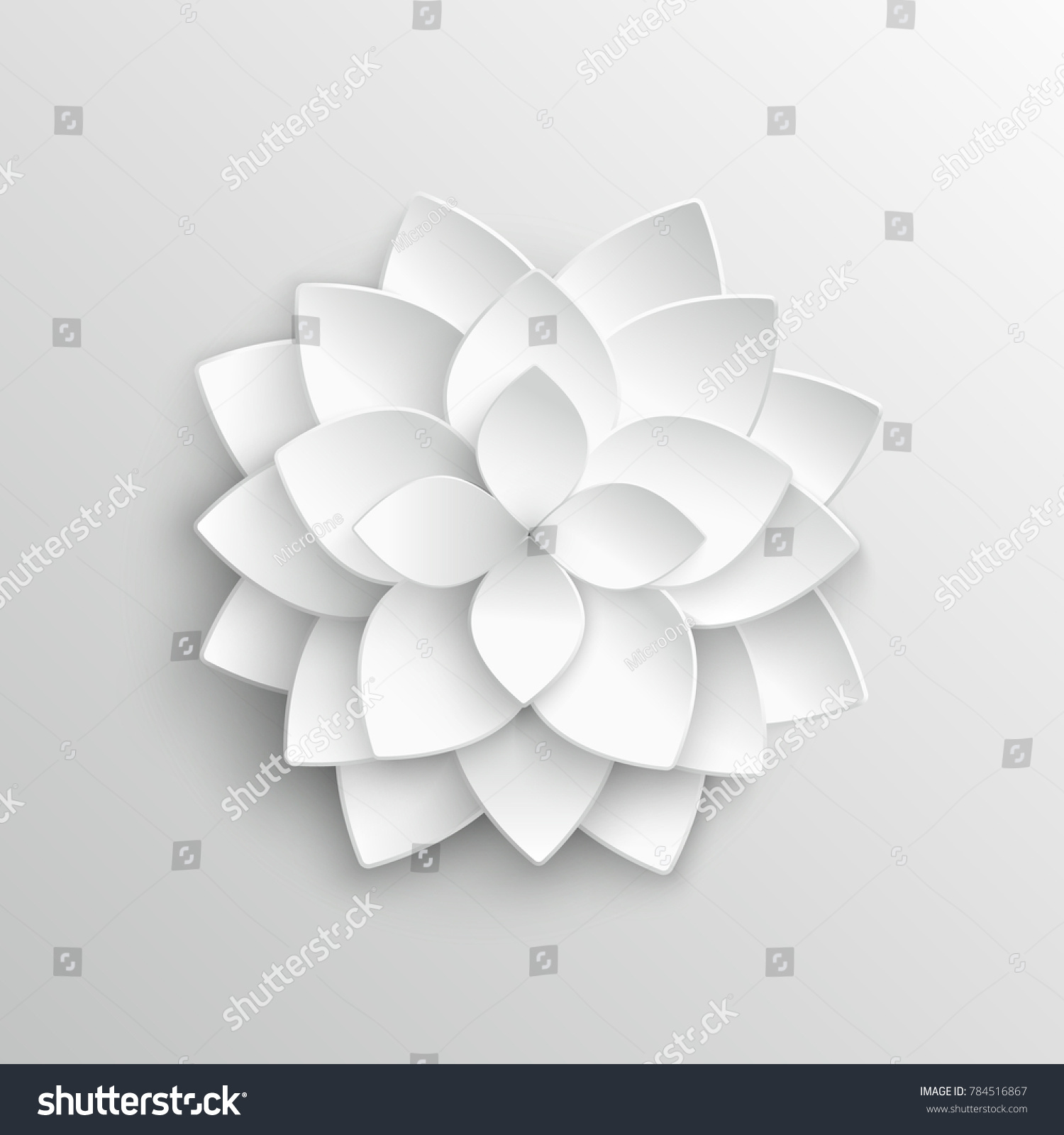 White Paper 3 D Lotus Flower Origami Stock Illustration 784516867 ...