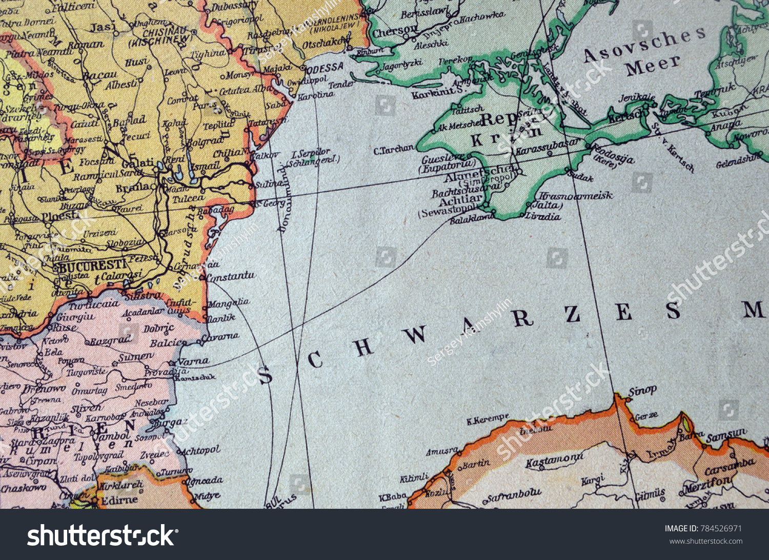 ILLUSTRATIVE EDITORIAL German Vintage Map Europe Circa Stock Photo ...