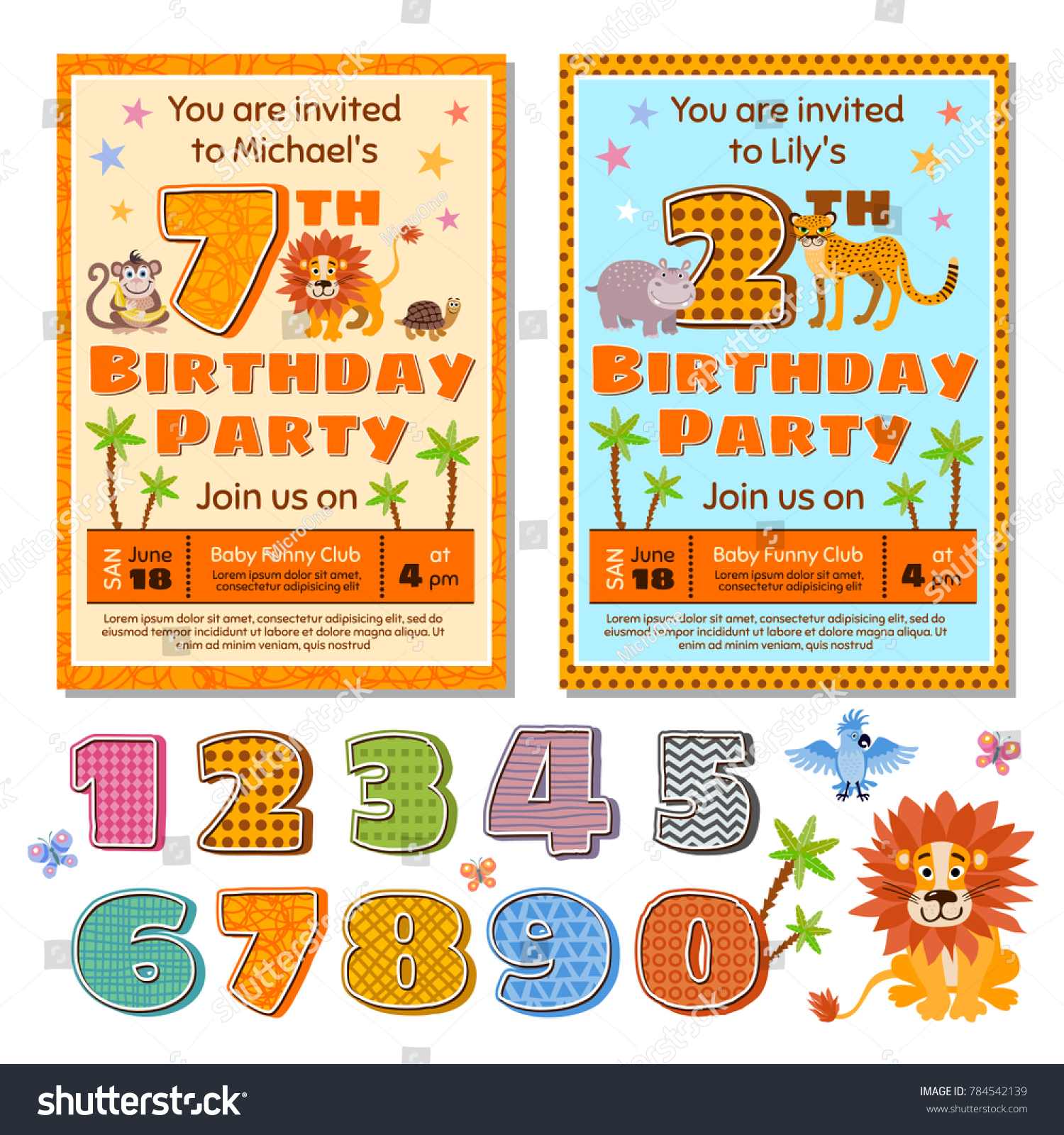 Children Birthday Party Invitation Card Template Stock Illustration ...