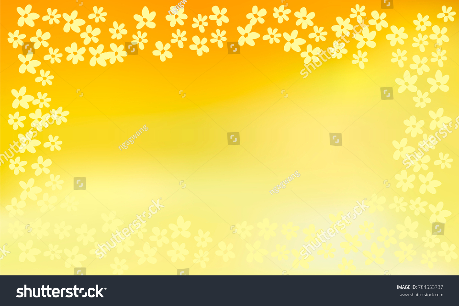 Many Small Light Yellow Flowers Empty Stock Vector 784553737