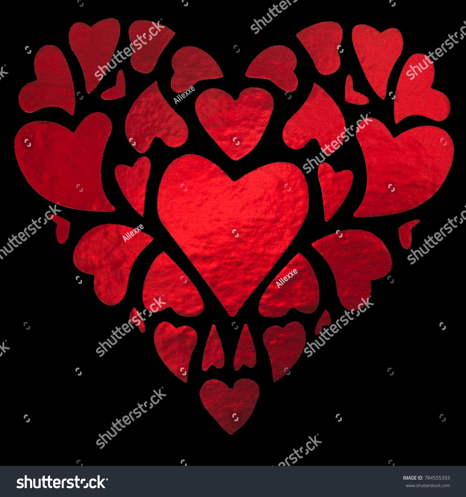 Shiny Red Hearts Forming Big Heart Stock Photo Edit Now 784555393