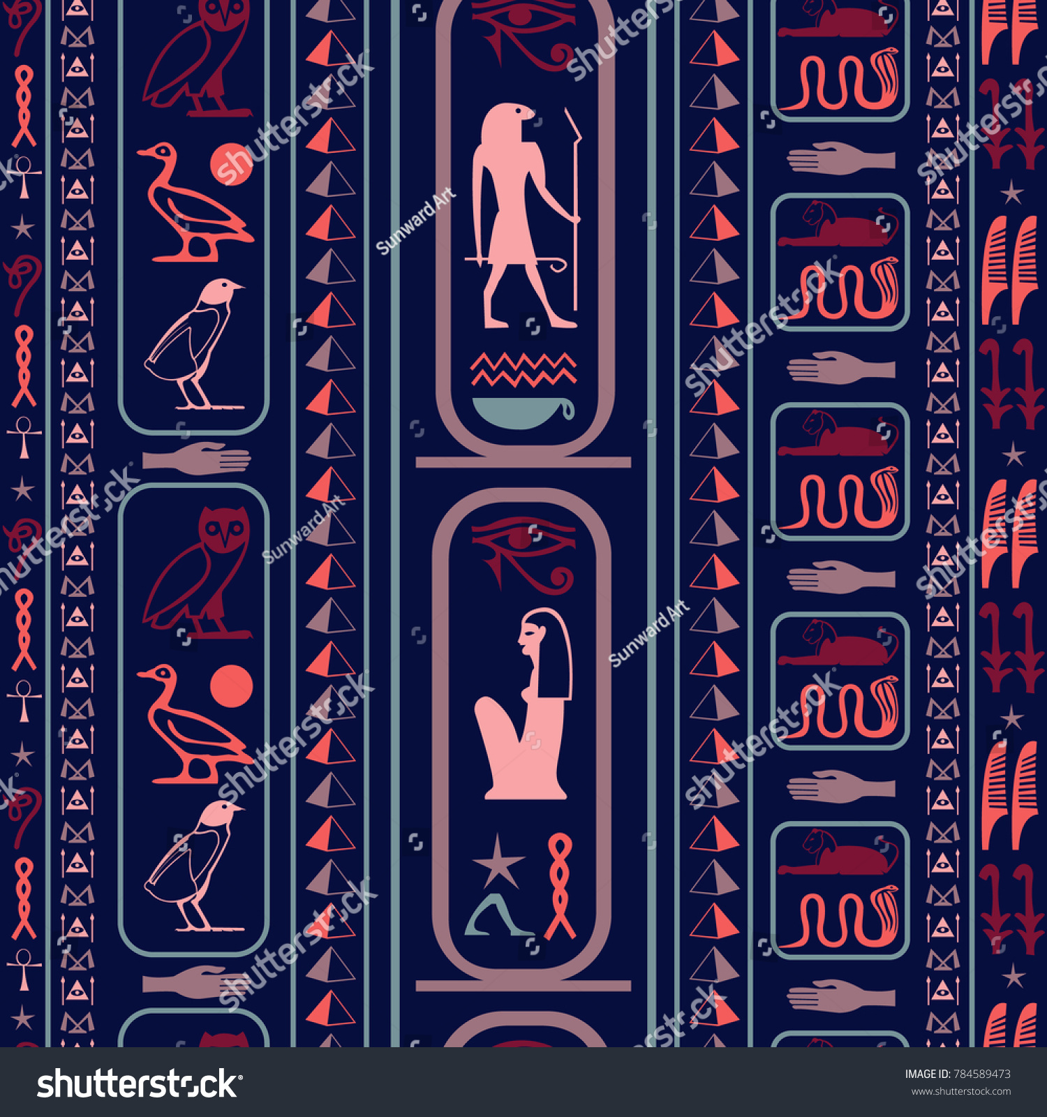 Ancient Egyptian Motifs Seamless Background Ethnic Stock Vector
