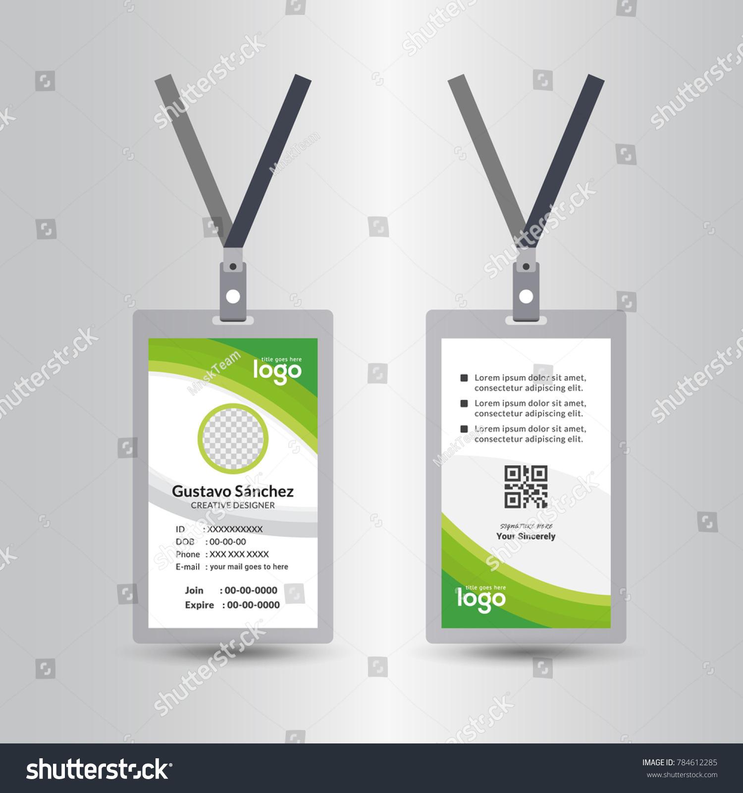 green template staff employee identification card のベクター画像
