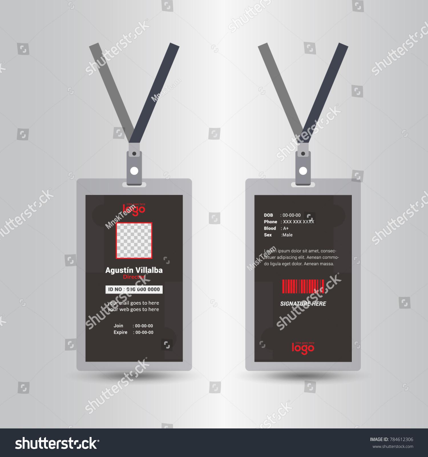 Black Template Staff Employee Identification Card Stock Vector ...