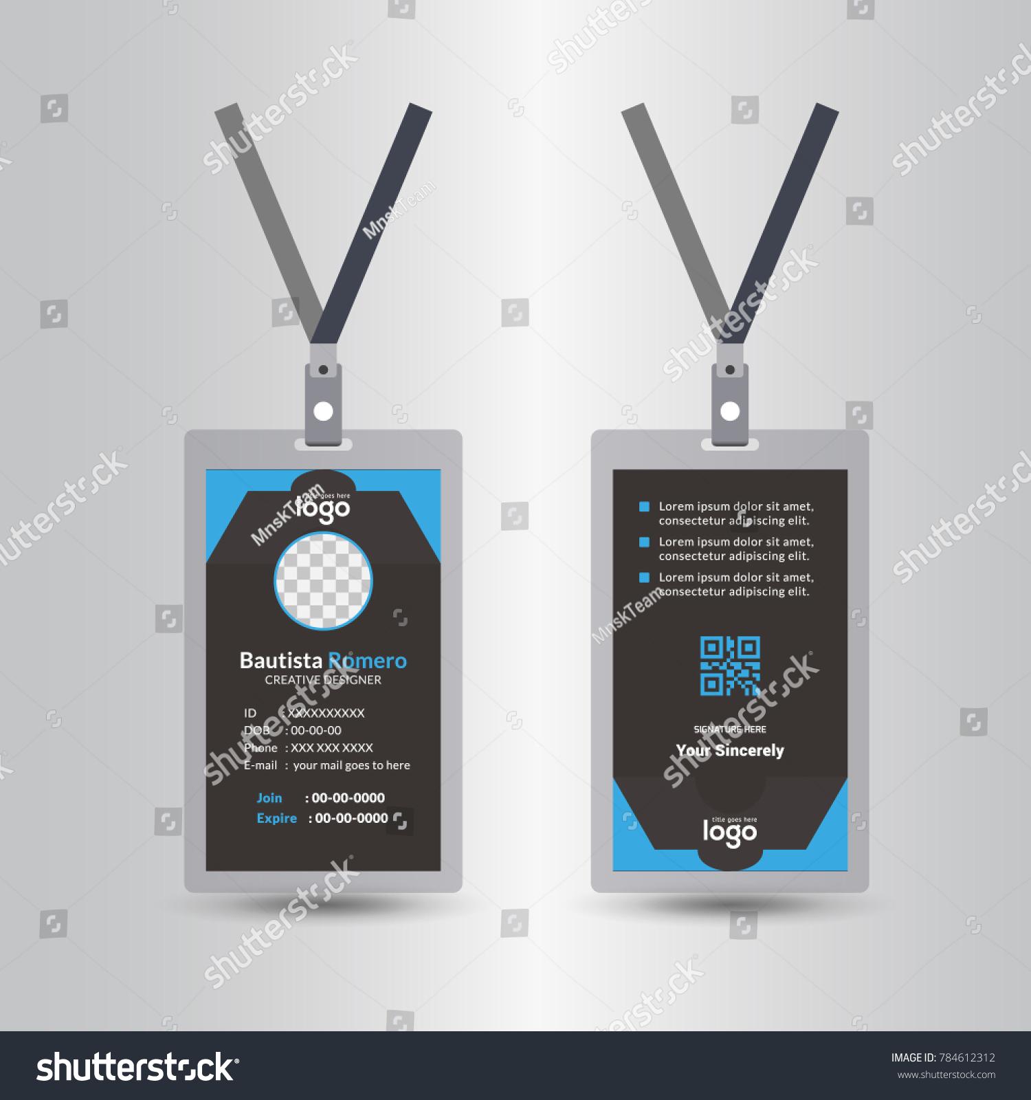 Template Staff Employee Identification Card Vector Stock Vector ...