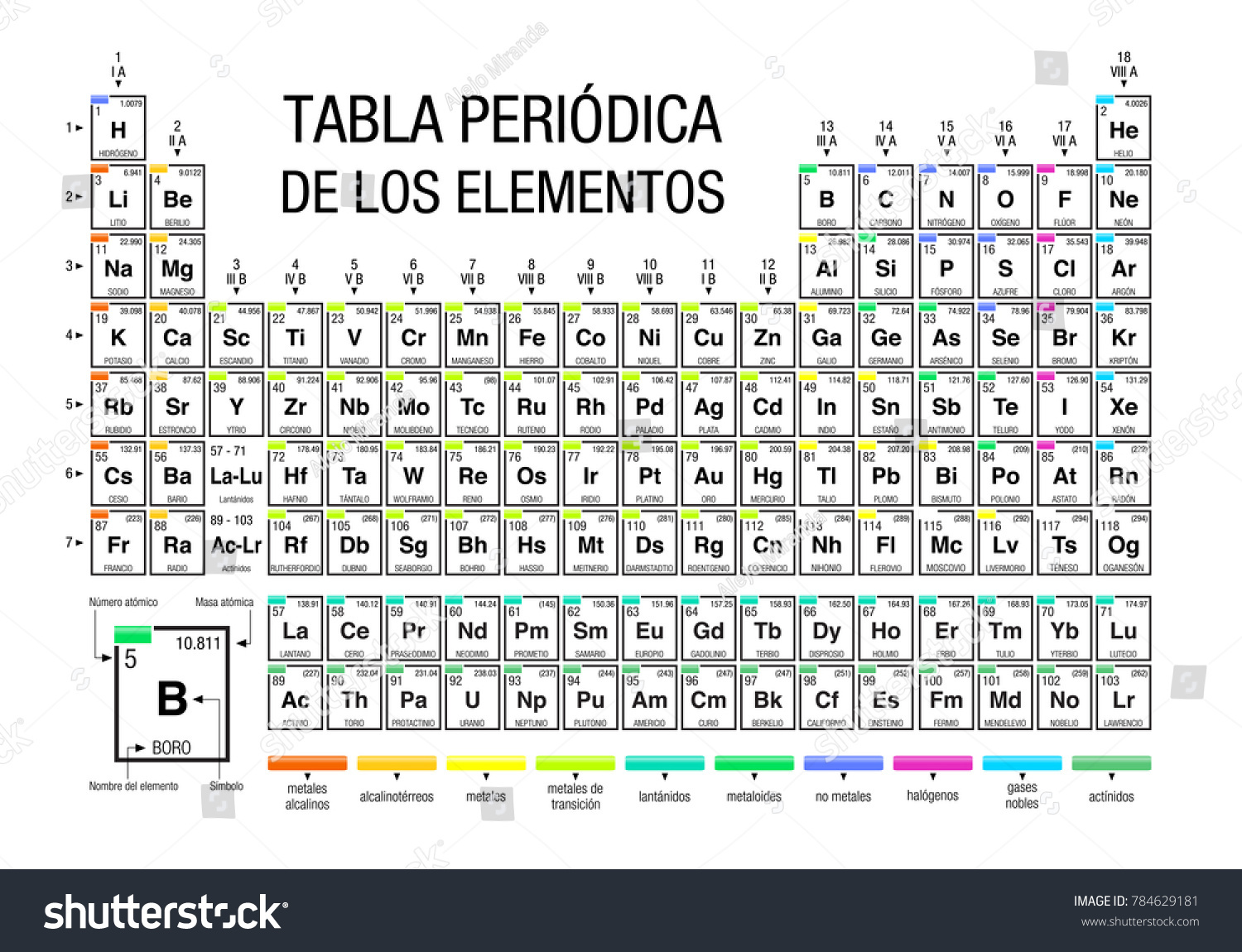 Tabla periodica de los elementos periodic stock vector 784629181 tabla periodica de los elementos periodic table of elements in spanish language on white urtaz Gallery