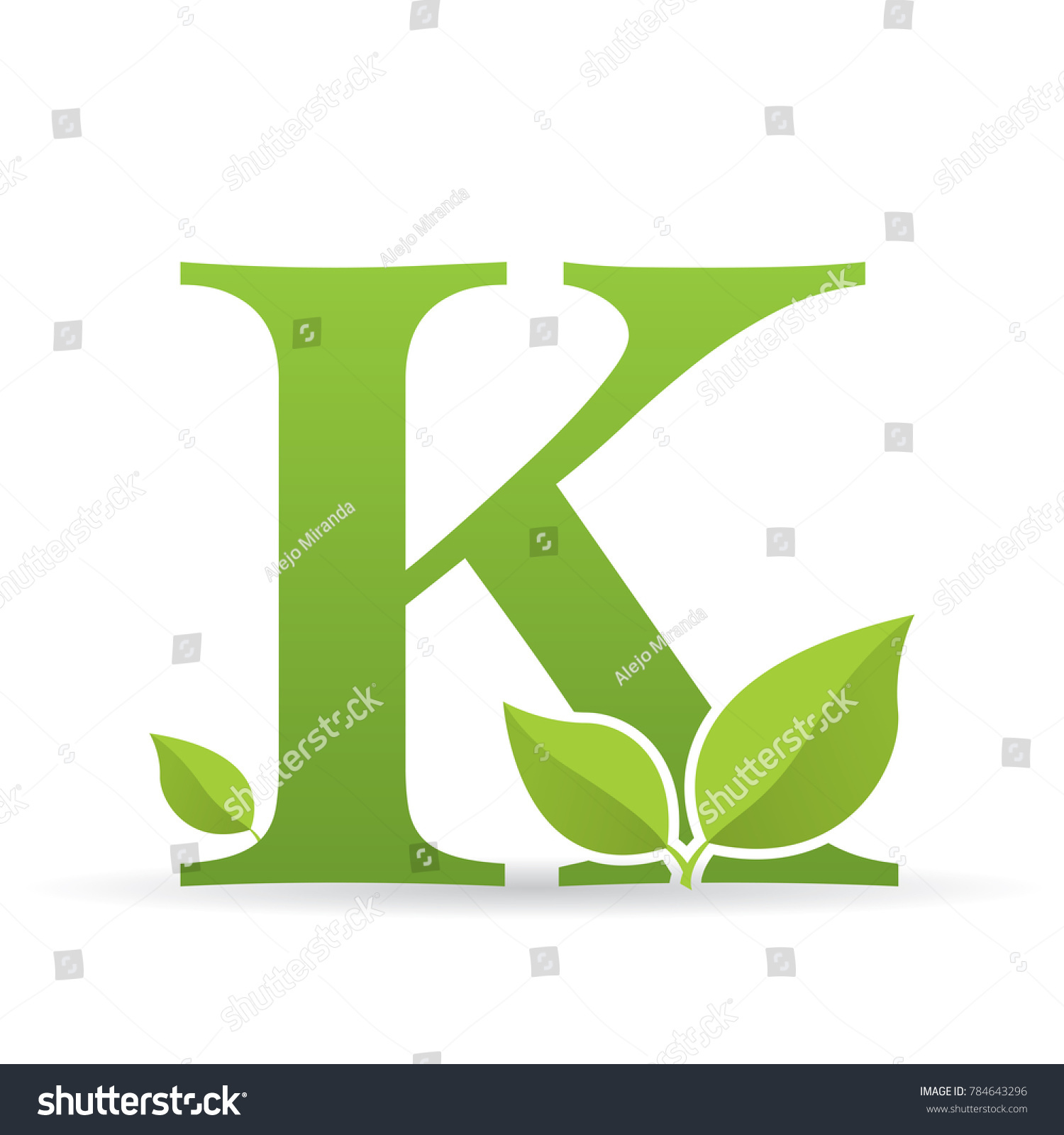 Logo Letter K Green Color Decorated Stock Vector (Royalty Free ...