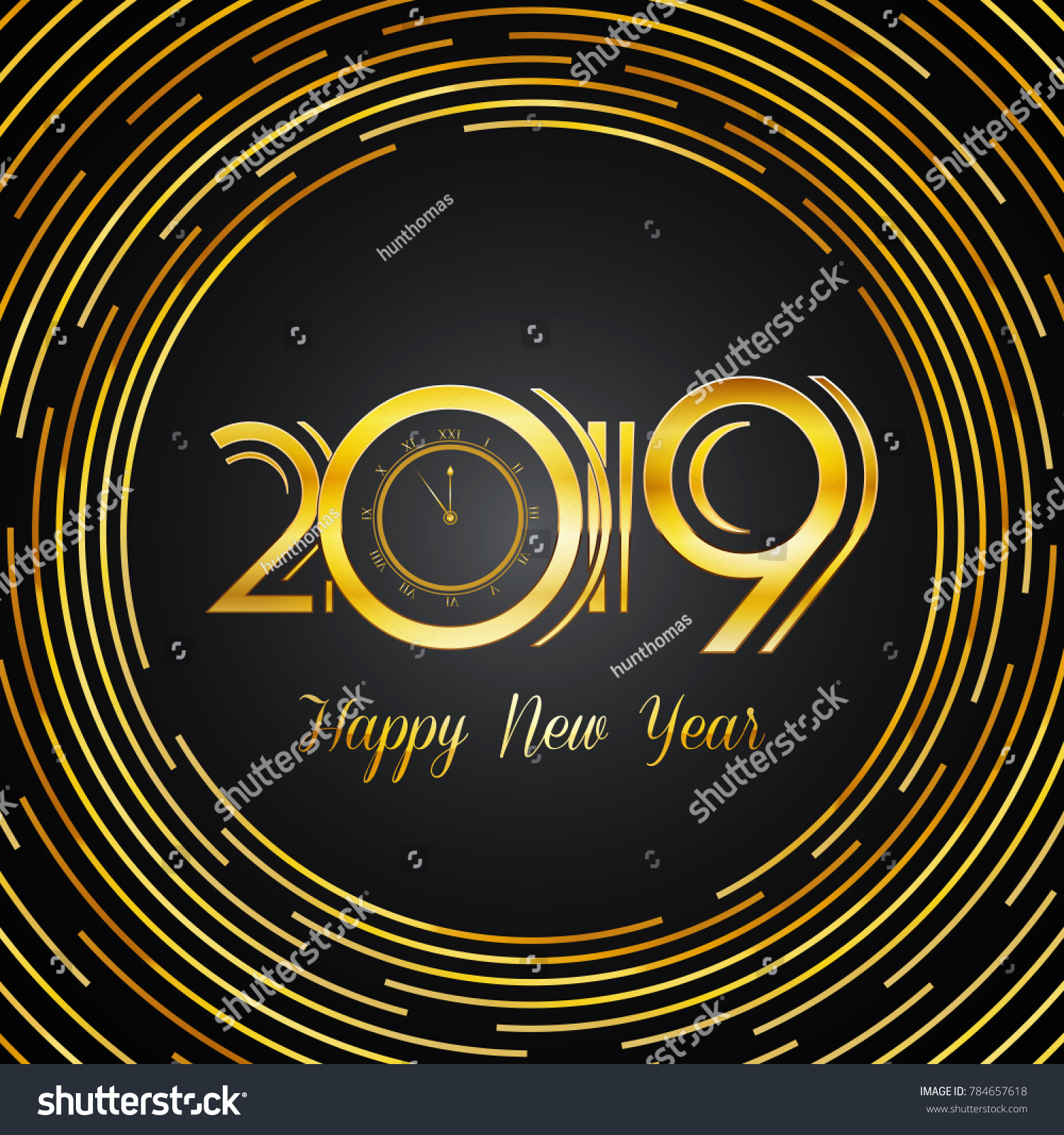 Happy new year 2019 greeting card stock vector 784657618 happy new year 2019 greeting card golden numbers on dark background with round lines design kristyandbryce Choice Image