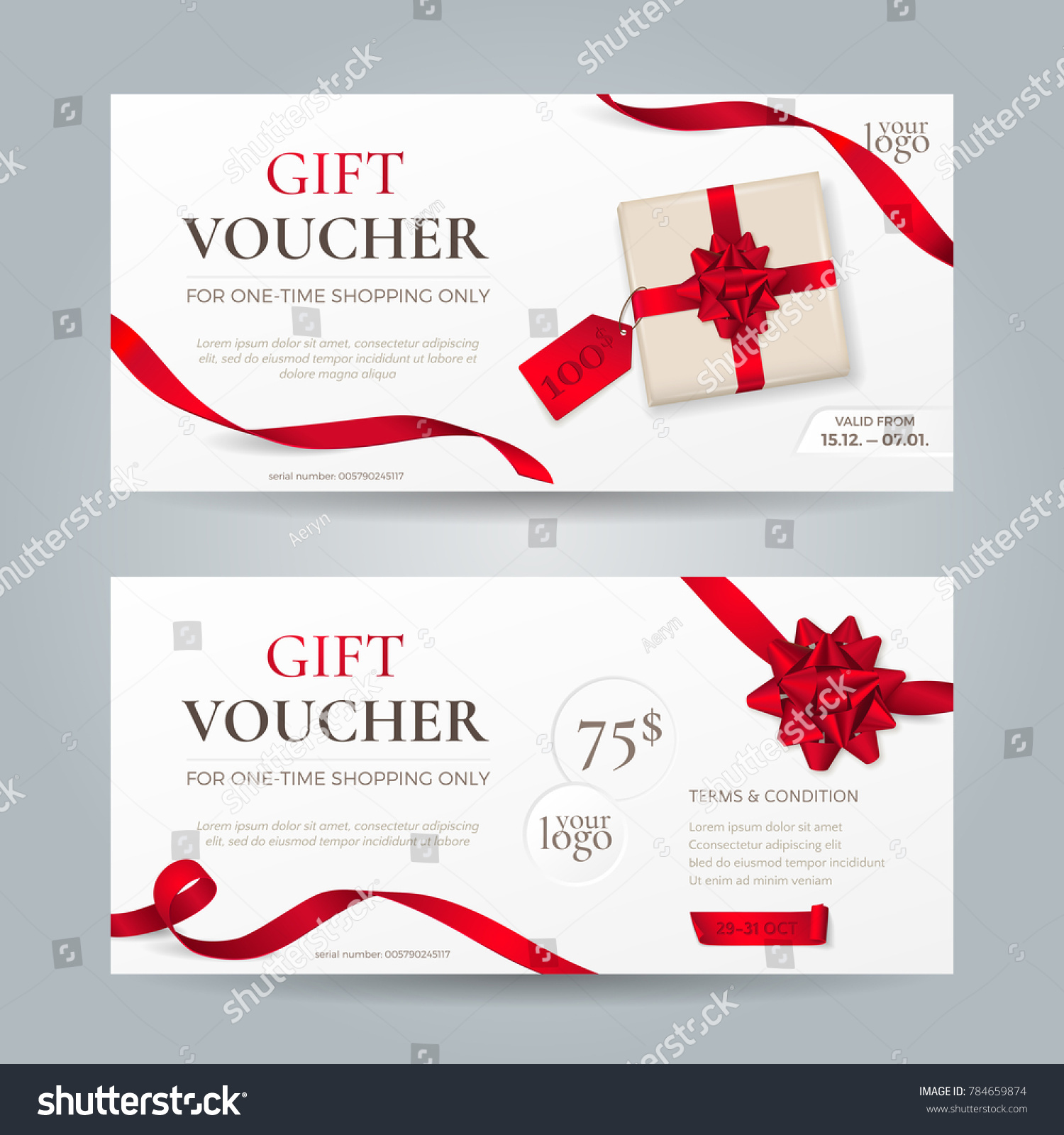 Vector set elegant gift vouchers red stock vector 784659874 vector set of elegant gift vouchers with red ribbons bows and gift box template yadclub Images