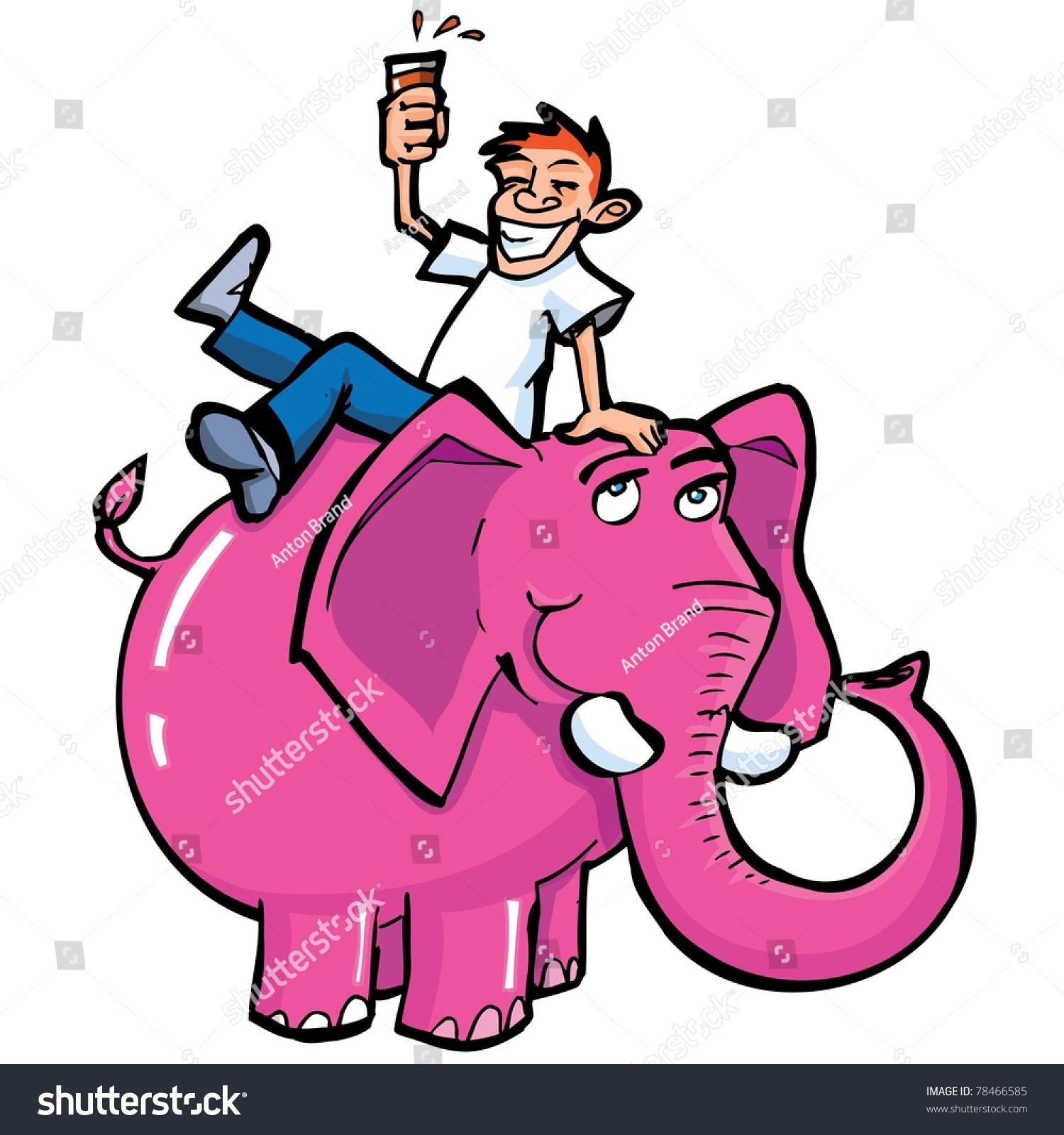 Cartoon Drunk Man Riding Pink Elephant Stock Vector ...