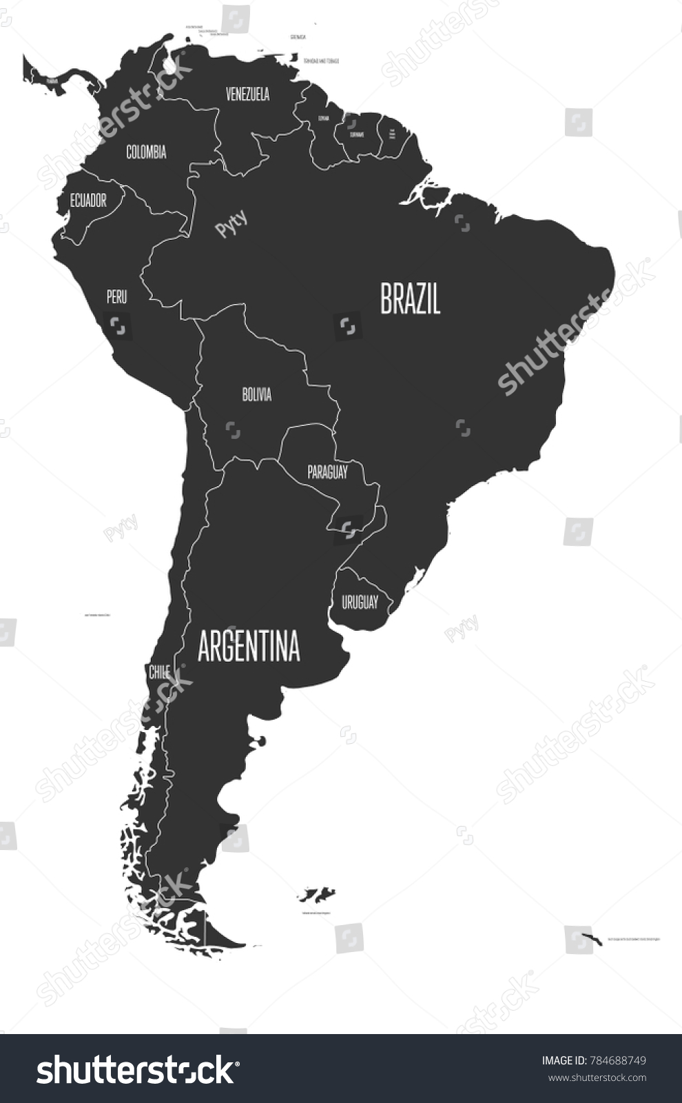 Political map south america simple flat stock vector 784688749 political map of south america simple flat vector map with country name labels in grey gumiabroncs Images