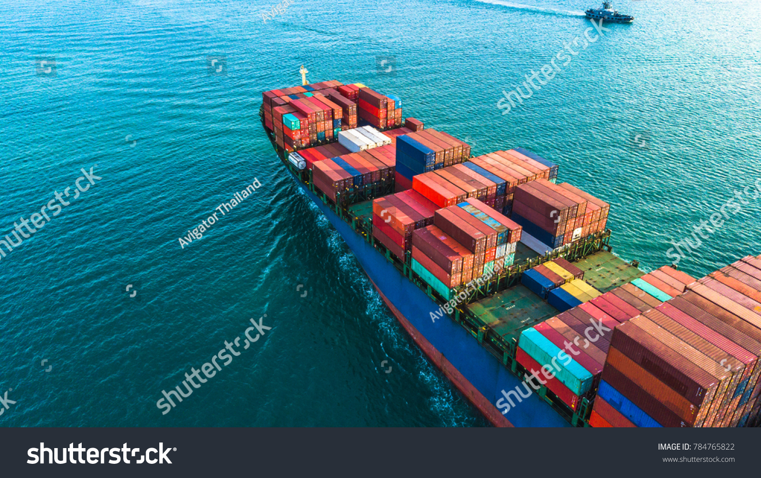 Aerial view container cargo ship, import export commerce business trade logistic and transportation of International by container cargo ship boat in the open sea, Freight shipping maritime.  #784765822