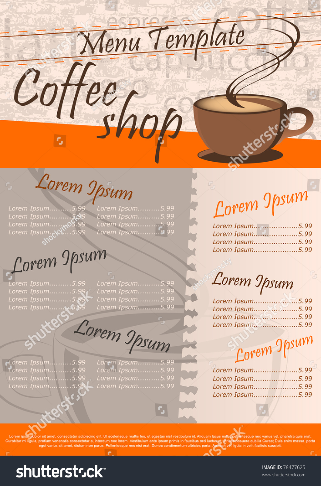 coffee shop menu template vector illustration stock vector