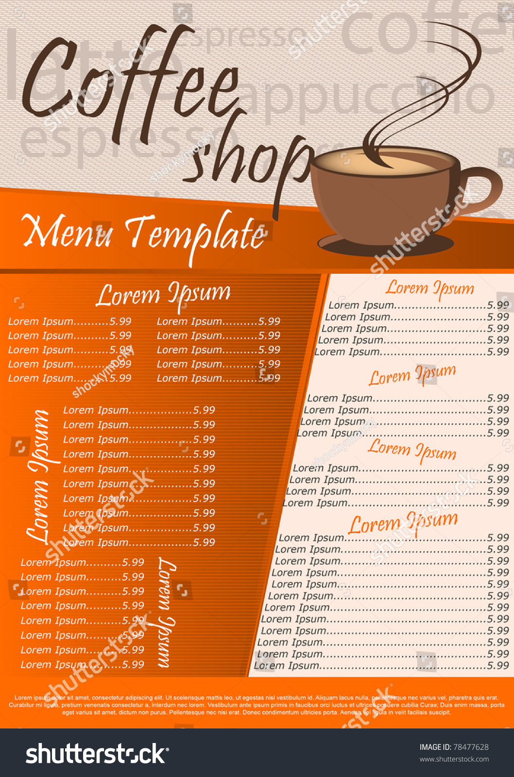 sandwich shop menu template - coffee shop menu template