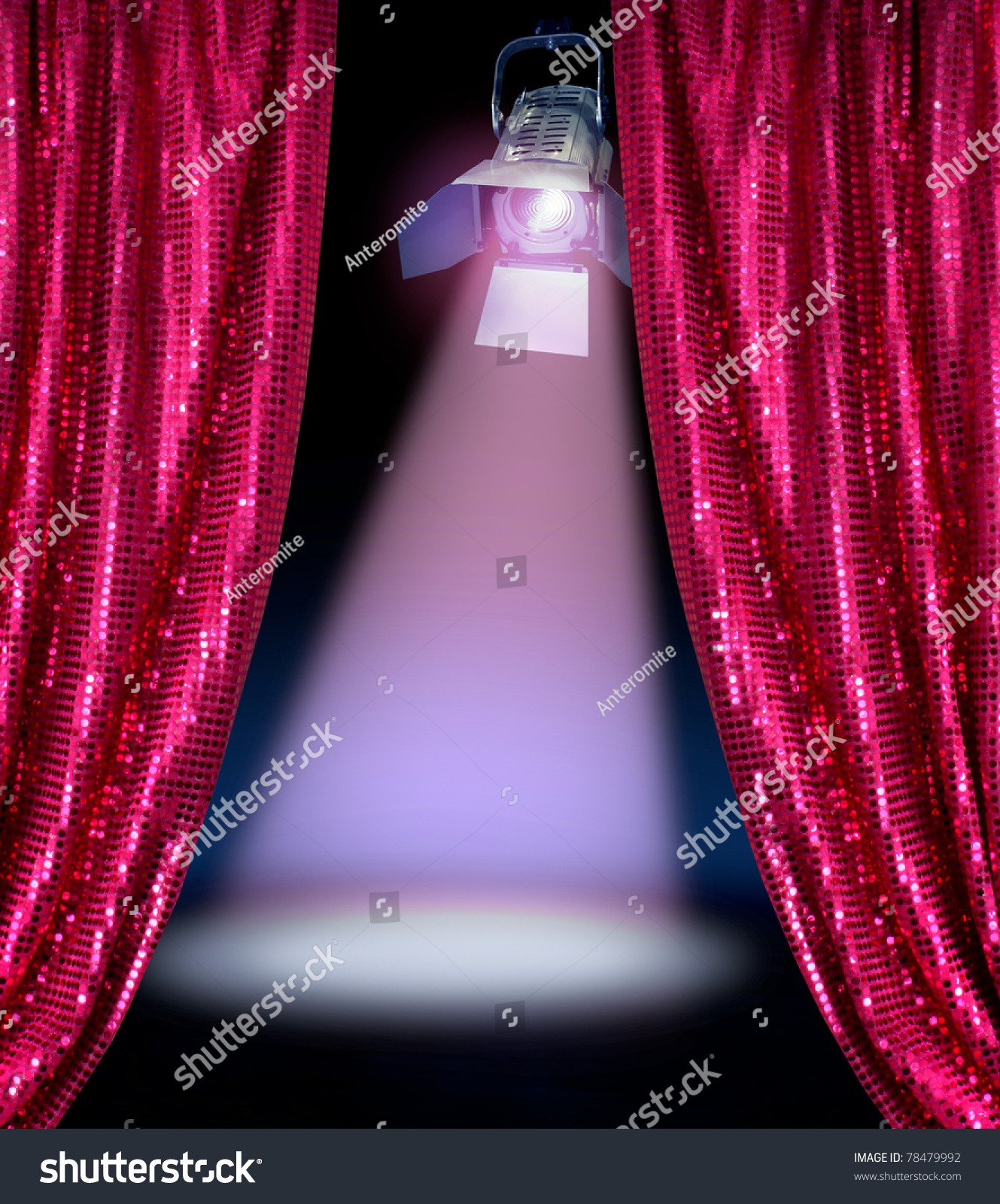 Red curtains with spotlight - Disco Curtains Reveal Show Stage Spotlight Lamp Dark Background
