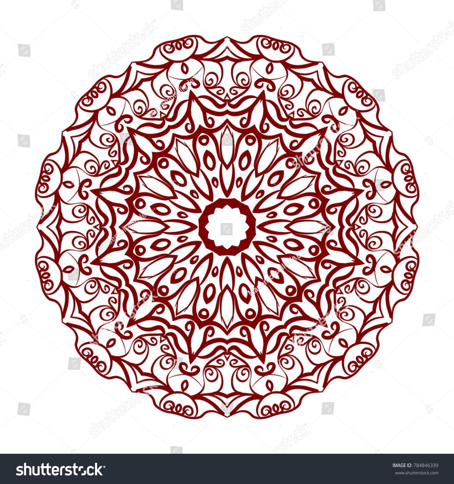 Abstract Flower Design Mandala Decorative Round Stock Vector ...