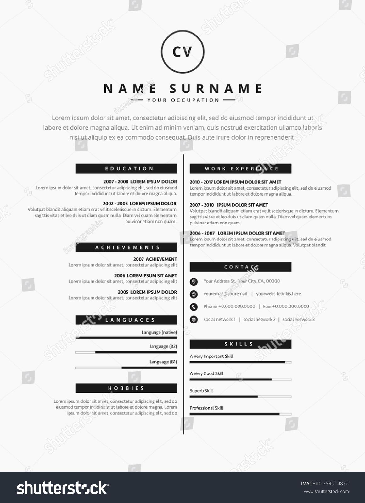 cv resume template design creative personのベクター画像素材