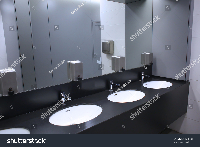 Modern Sinks Mirror Public Toilet Stock Photo Edit Now 784915621