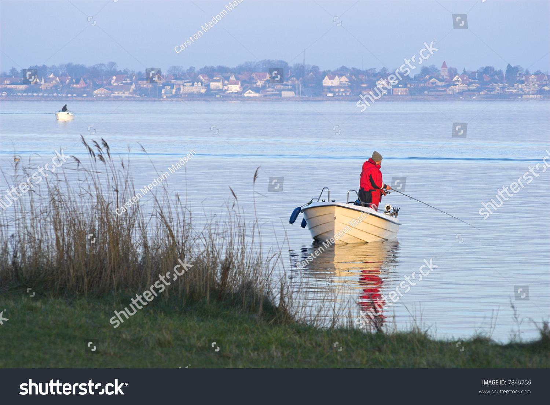 Man Fishingboat Sport Fishing Little Belt Stock Photo ...