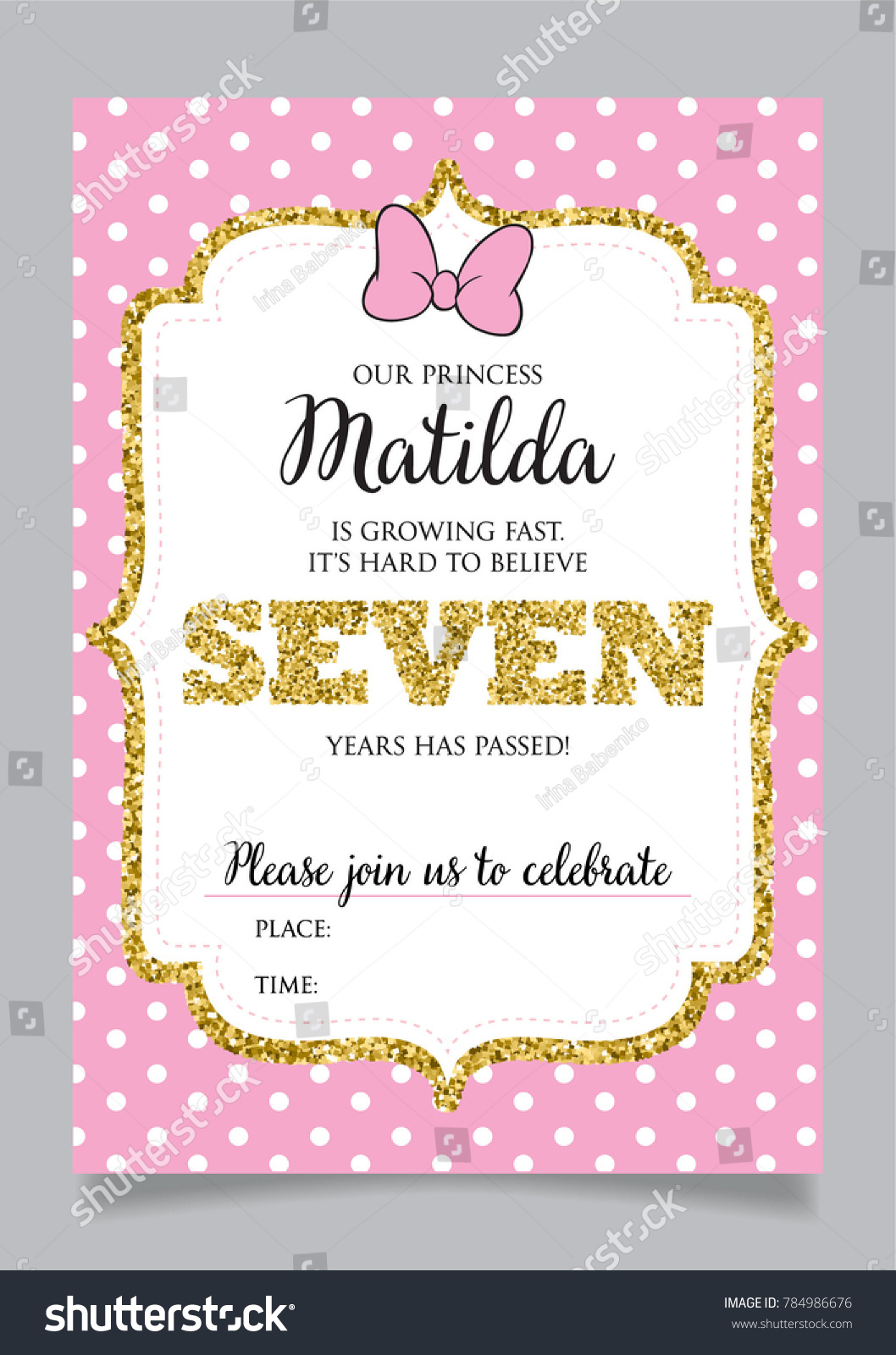 Girls Seventh Birthday Invitation Seven Years Stock Vector (Royalty ...